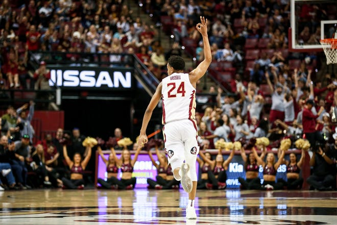 Freshman Devin Vassell (24) hit a huge 3-point shot late in the second half to give FSU the lead over Notre Dame on Monday, February 25th.