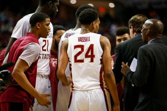 Freshman Devin Vassell (24) was a clutch shooter for the Noles late in the second half on Monday, February 25th.