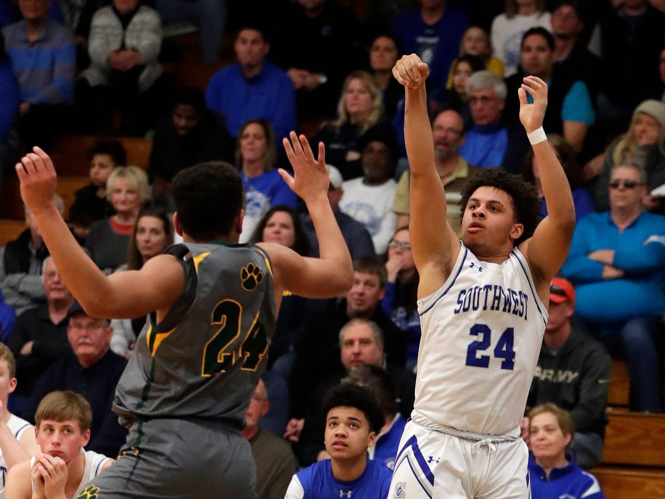 Green Bay Southwest defeated Ashwaubenon 68-58 on March 1, 2019, in a WIAA Division 2 boys basketball regional semifinal.