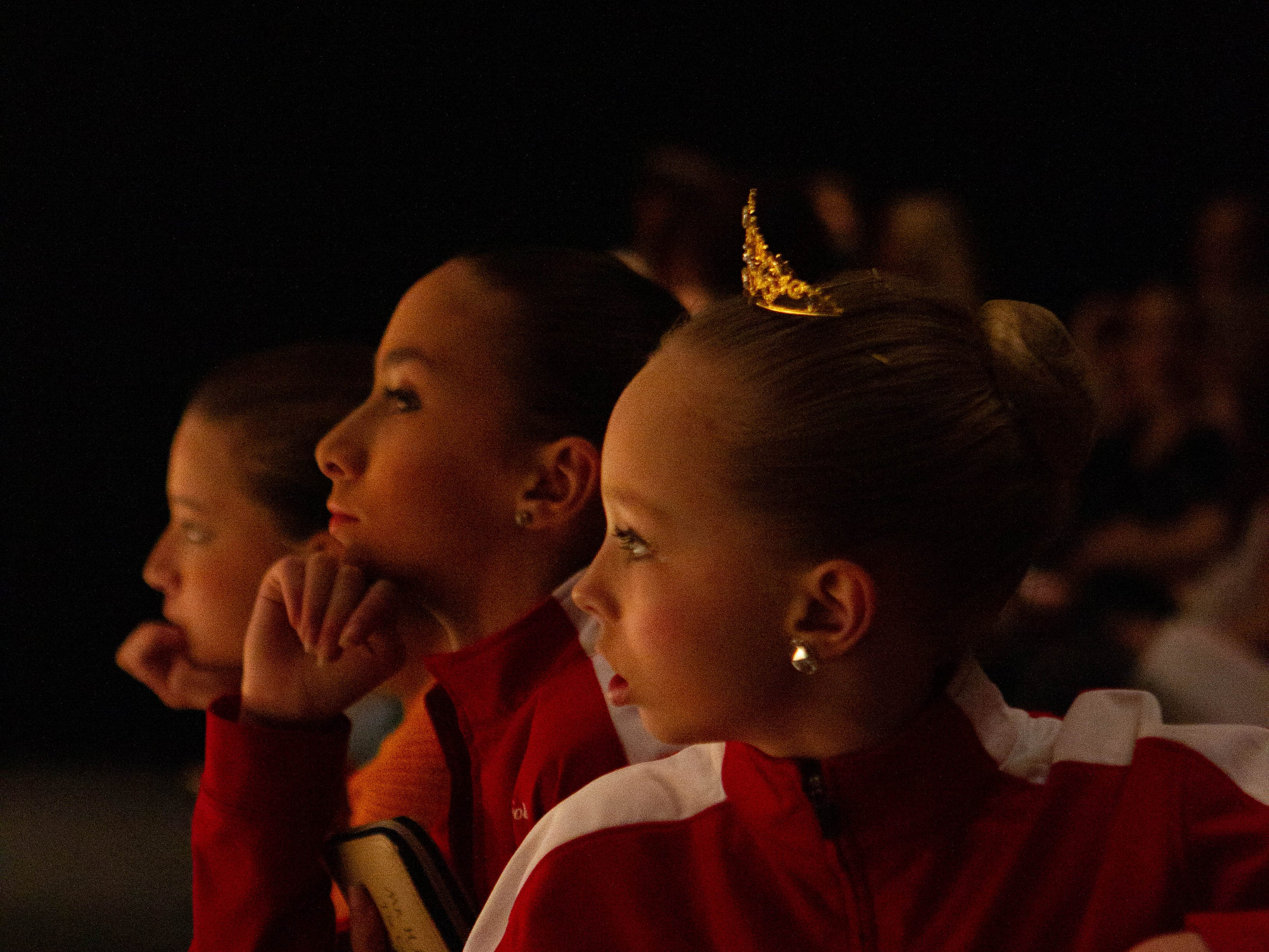 Ashlyn Arflin watches the senior ballet division warm up at the inaugural year of Grand Jeté dance competition at the South Carolina Governor's School for the Arts and Humanities, on Saturday, March 2, 2019.