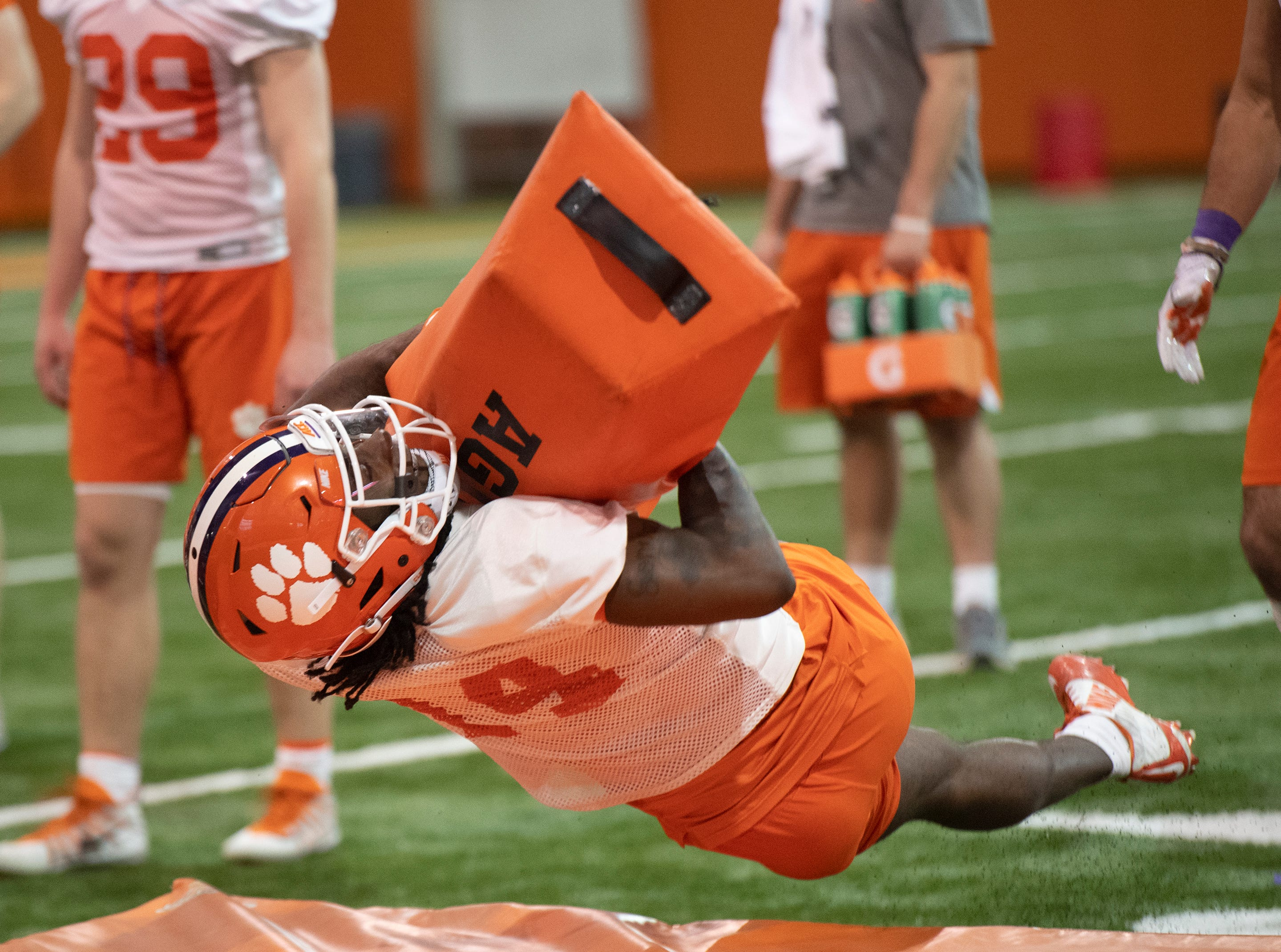 Clemson safety Denzel Johnson (14) works on drills during football practice at the Poe Indoor Football Facility Friday, Mar. 1, 2019.