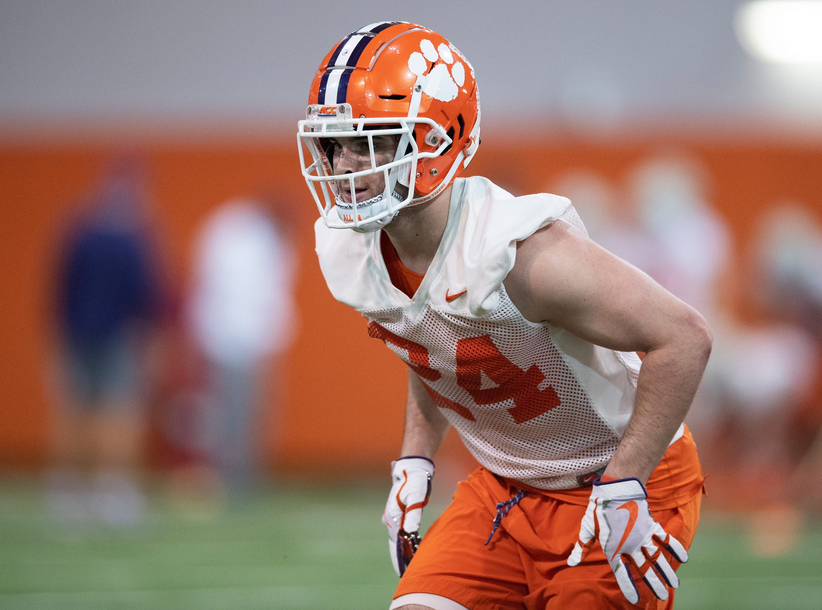 Clemson safety Nolan Turner (24) practices at the Poe Indoor Football Facility Friday, Mar. 1, 2019.