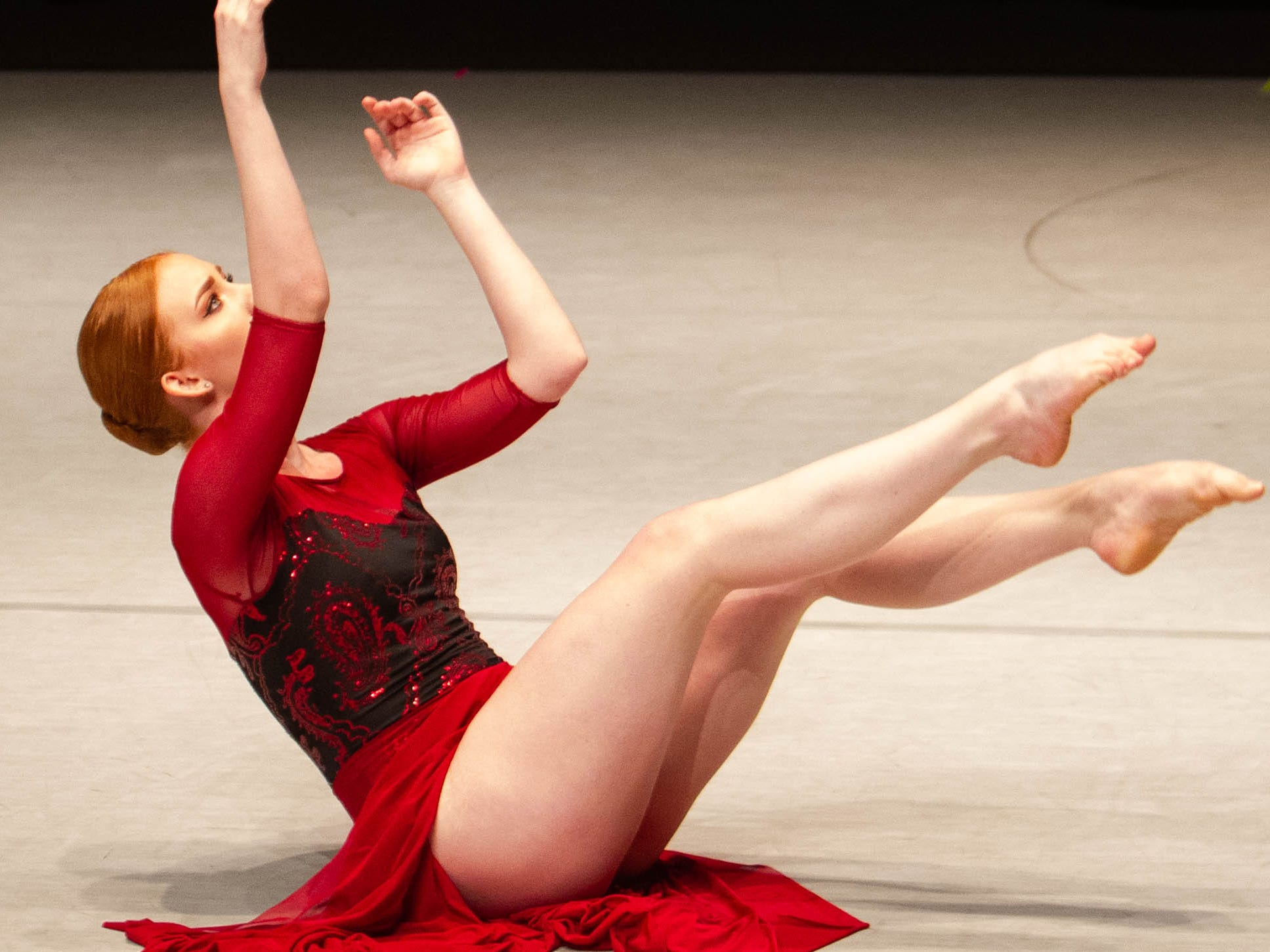 Cassi Sherbert competes at the inaugural year of Grand Jeté dance competition in the Senior Contemporary Modern division, at the South Carolina Governor's School for the Arts and Humanities, on Saturday, March 2, 2019.