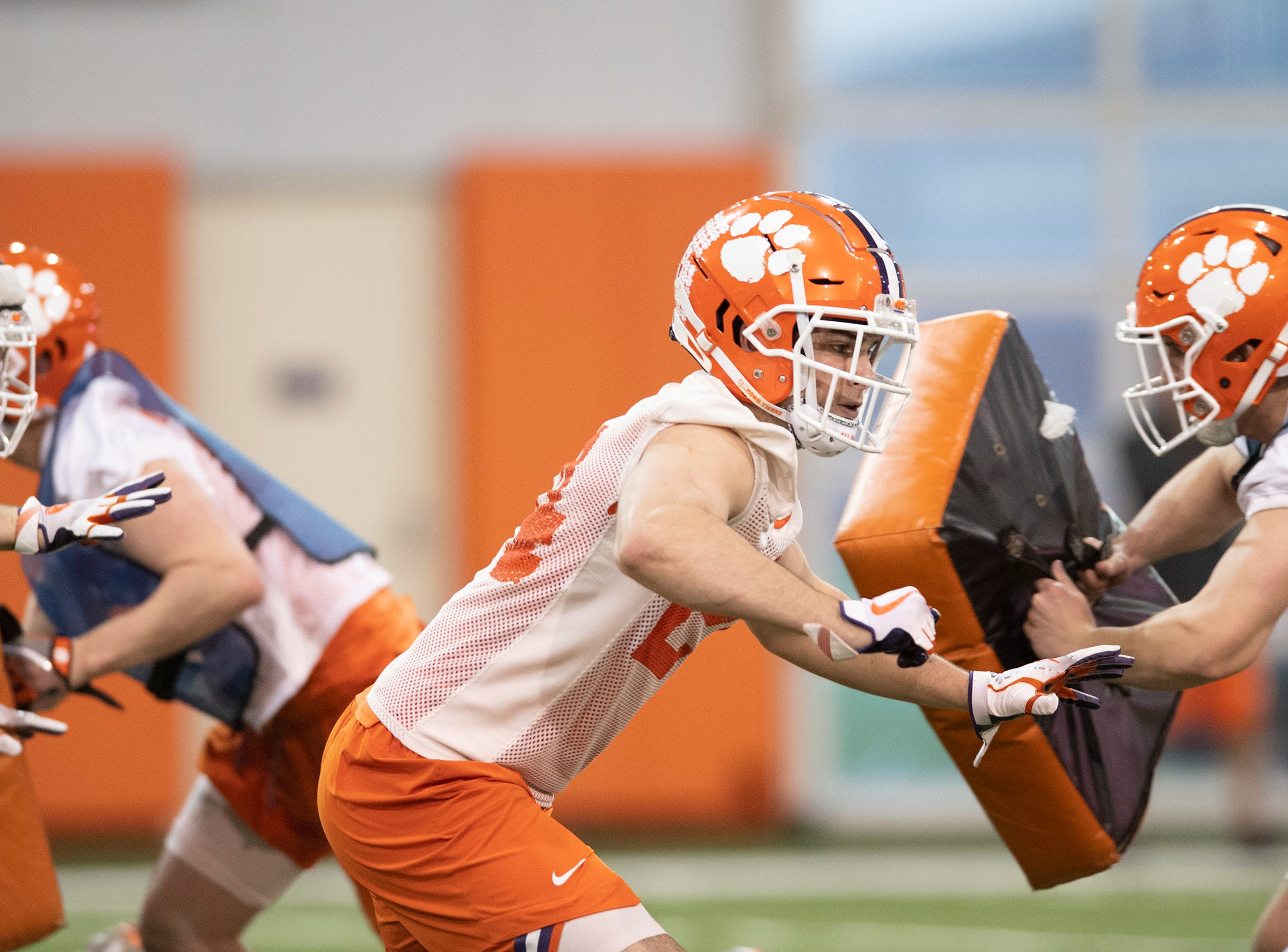 Clemson safety Nolan Turner (24) runs during football practice at the Poe Indoor Football Facility Friday, Mar. 1, 2019.