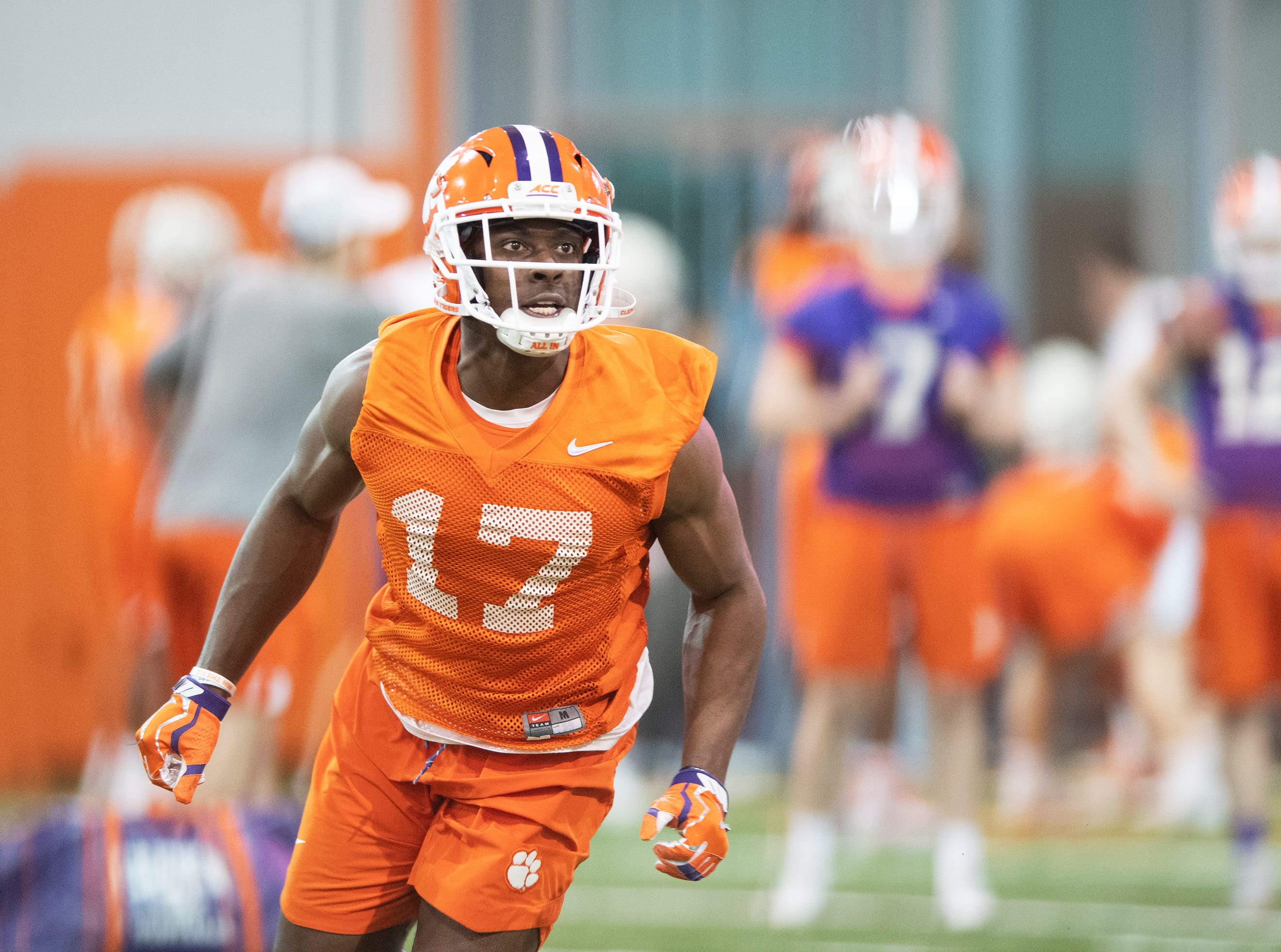 Clemson wide receiver Cornell Powell (17) practices with the team at the Poe Indoor Football Facility Friday, Mar. 1, 2019.