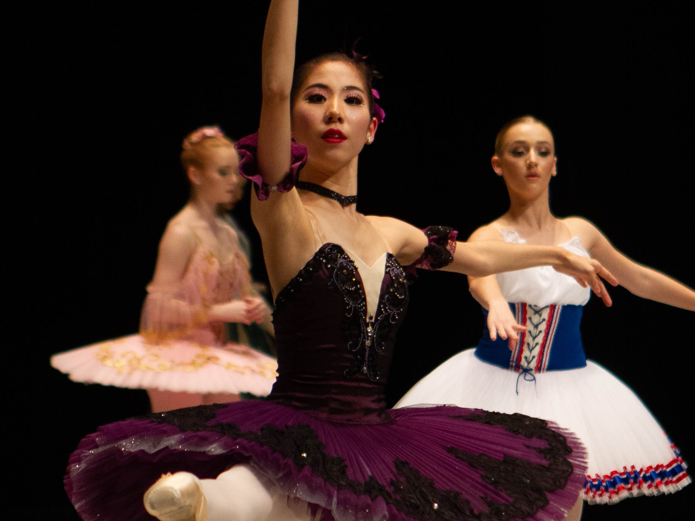 Rimi Mizuoka warms up on stage with other contestants at the inaugural year of the Grand Jeté dance competition in the Senior Ballet division, at the South Carolina Governor's School for the Arts and Humanities, on Saturday, March 2, 2019.