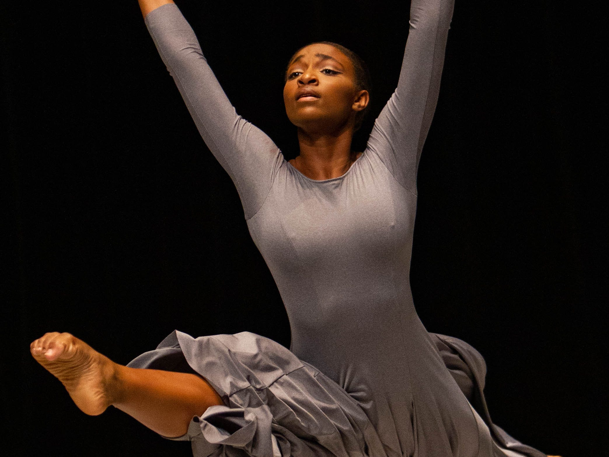 Olivia Mozie competes at the inaugural year of Grand Jeté dance competition in the Senior Contemporary Modern division, at the South Carolina Governor's School for the Arts and Humanities, on Saturday, March 2, 2019.