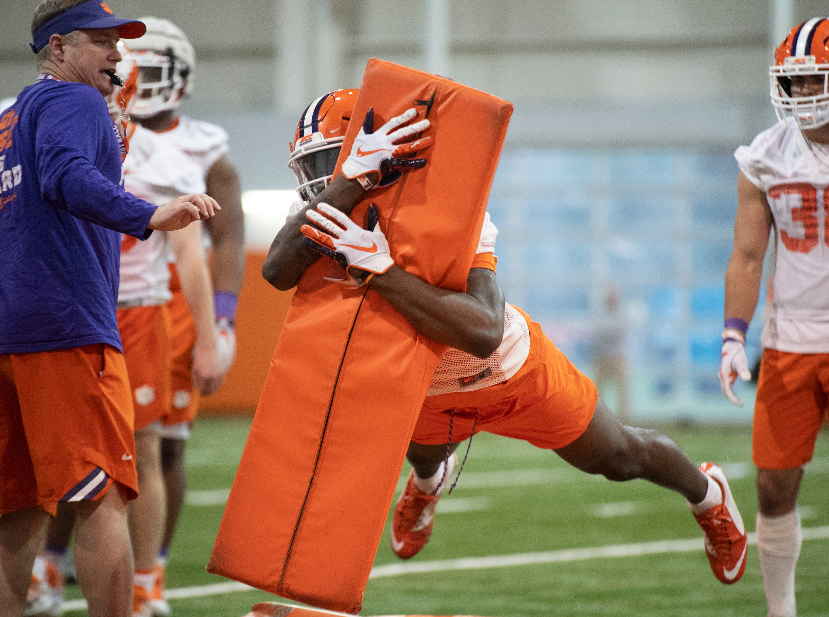 Clemson safety Denzel Johnson (14) practices at the Poe Indoor Football Facility Friday, Mar. 1, 2019.