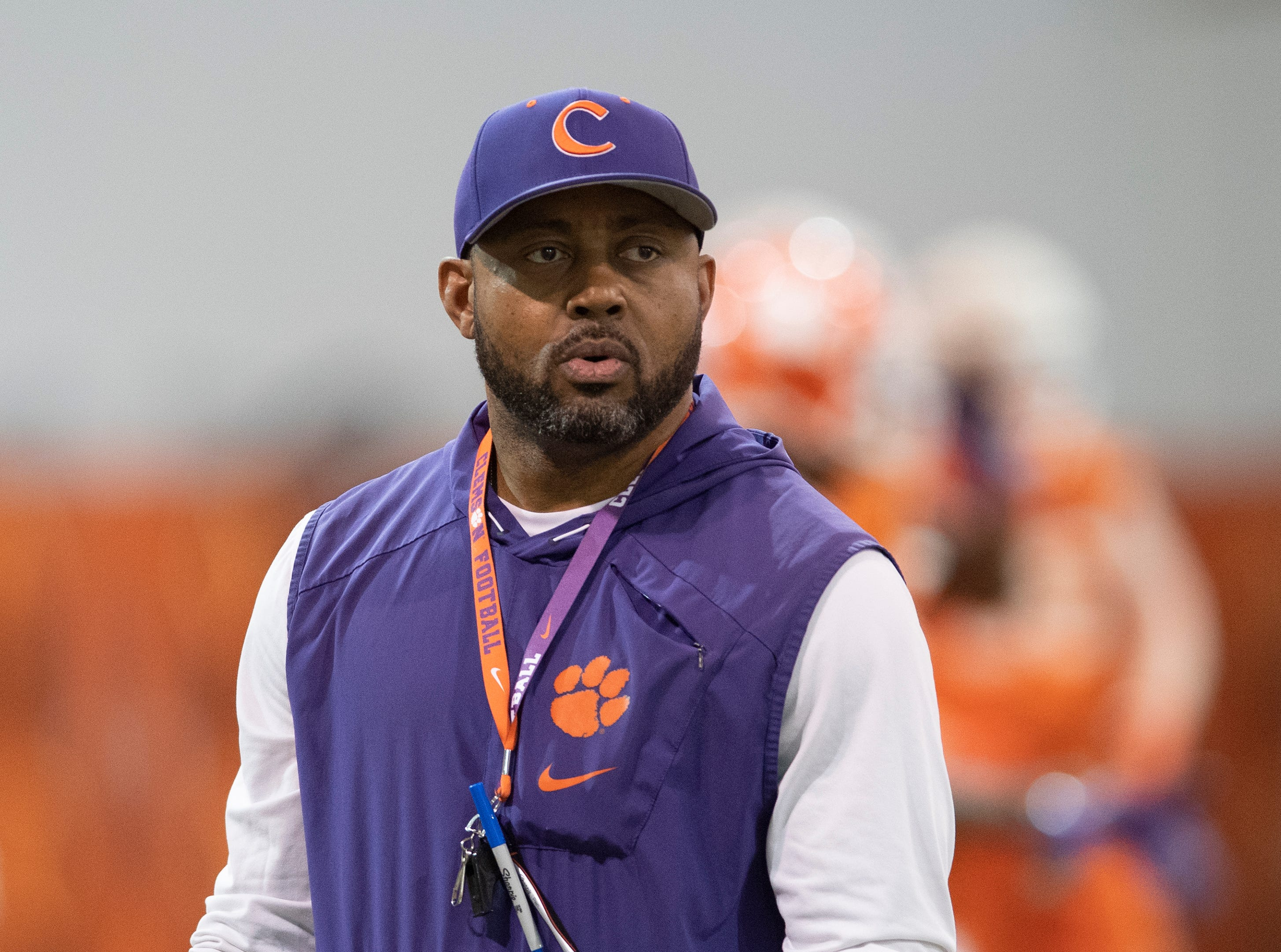 Clemson assistant coach Mike Reed during football practice at the Poe Indoor Football Facility Friday, Mar. 1, 2019.