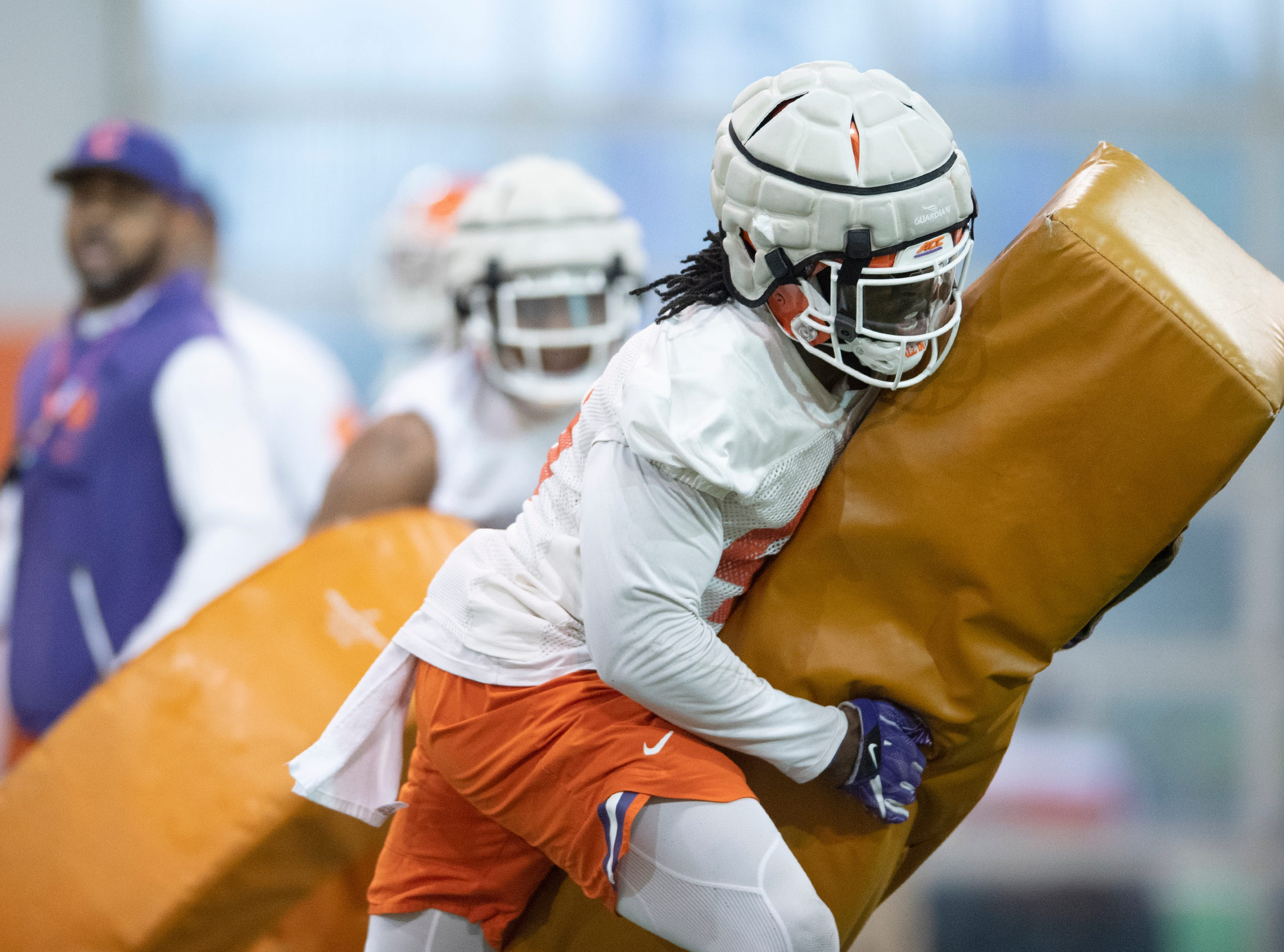 Clemson linebacker John Boyd (46) practices at the Poe Indoor Football Facility Friday, Mar. 1, 2019.