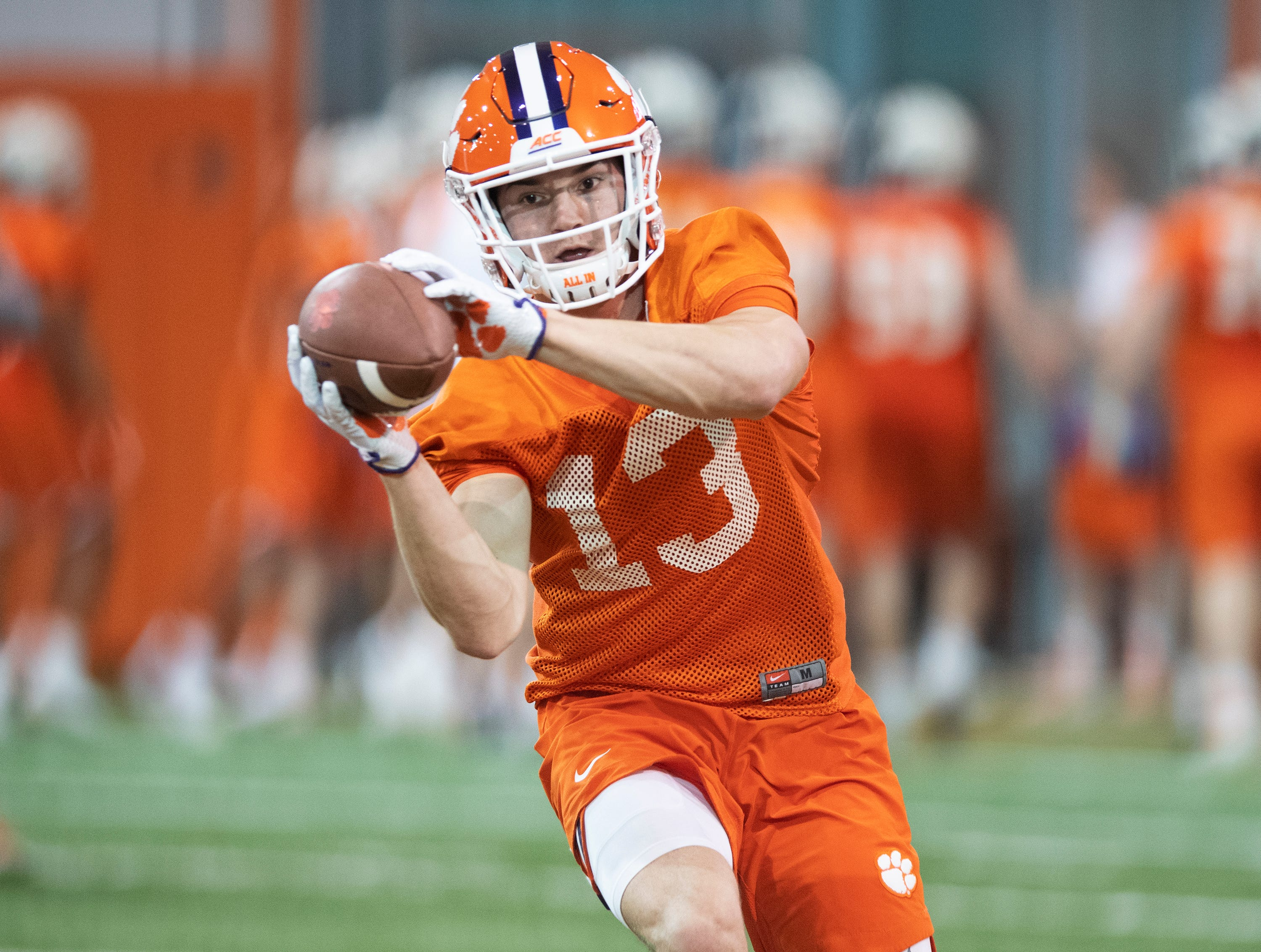 Clemson wide receiver Brannon Spector (13) practices with the team at the Poe Indoor Football Facility Friday, Mar. 1, 2019.