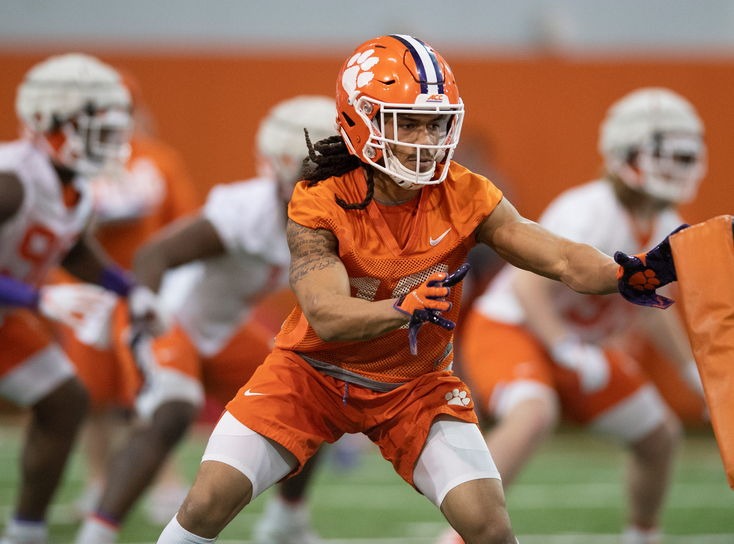 Clemson wide receiver T.J. Chase (18) goes through drills during football practice at the Poe Indoor Football Facility Friday, Mar. 1, 2019.