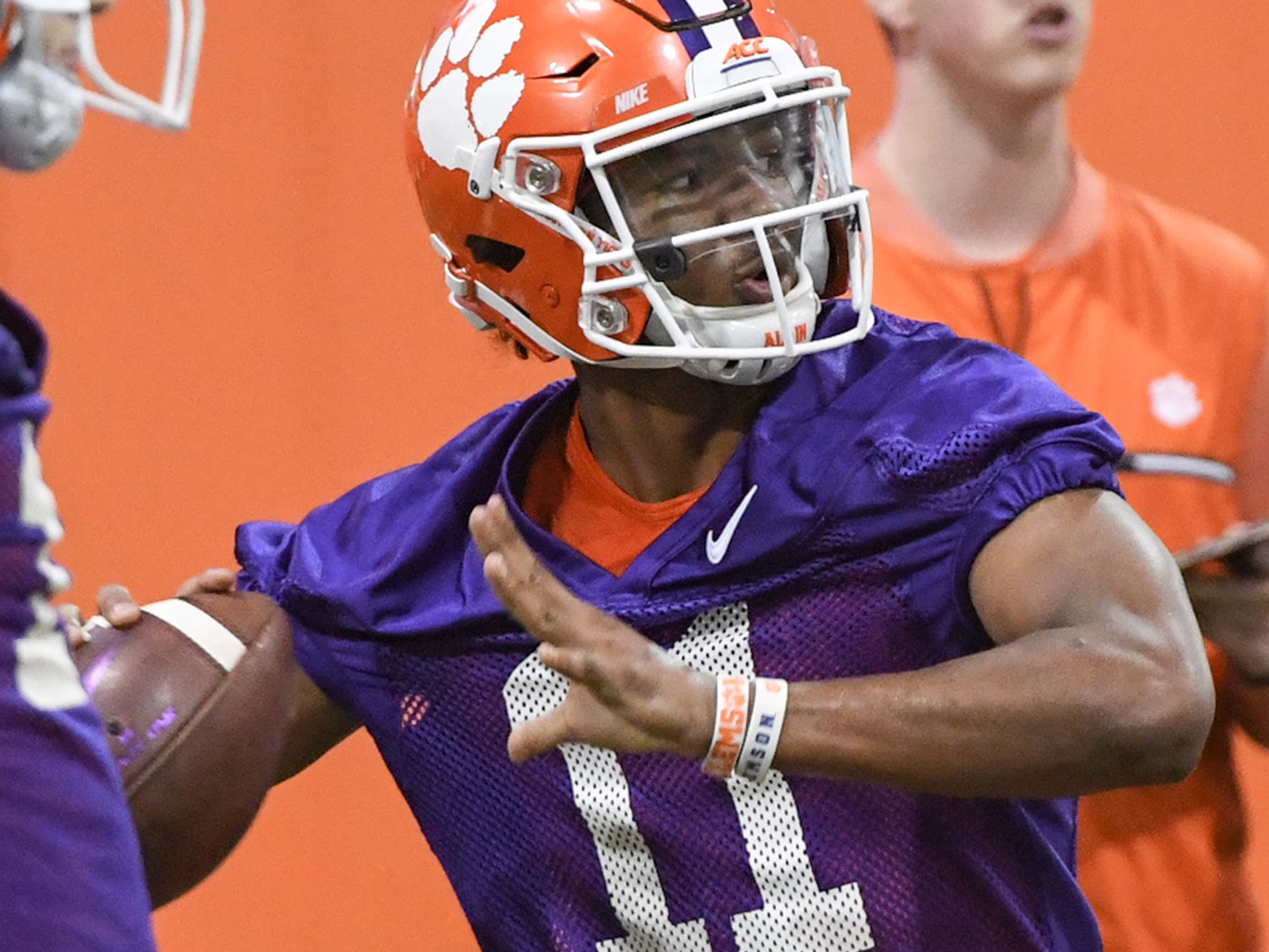during practice at the Poe Indoor Facility in Clemson Friday.