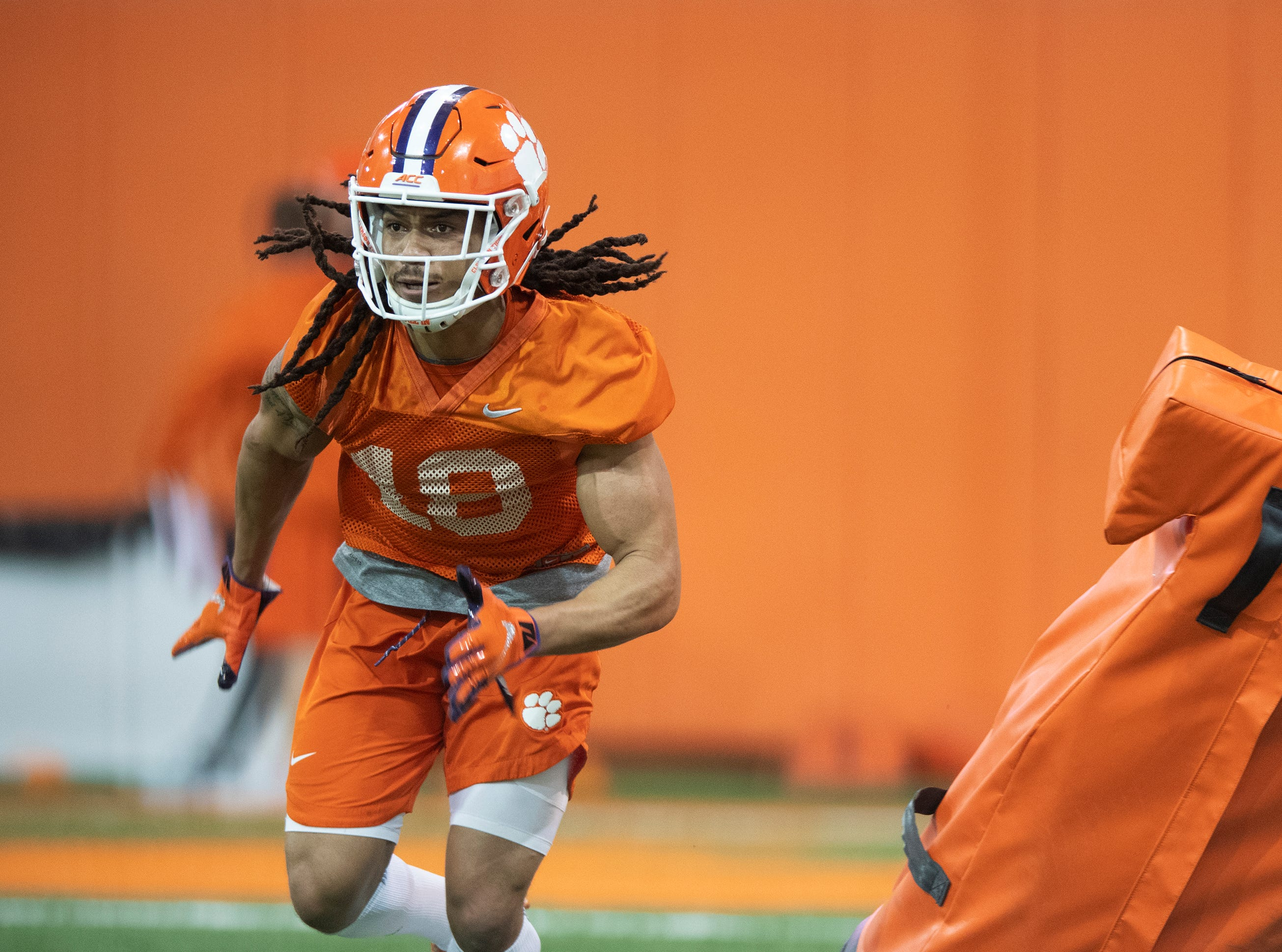 Clemson wide receiver T.J. Chase (18) practices at the Poe Indoor Football Facility Friday, Mar. 1, 2019.
