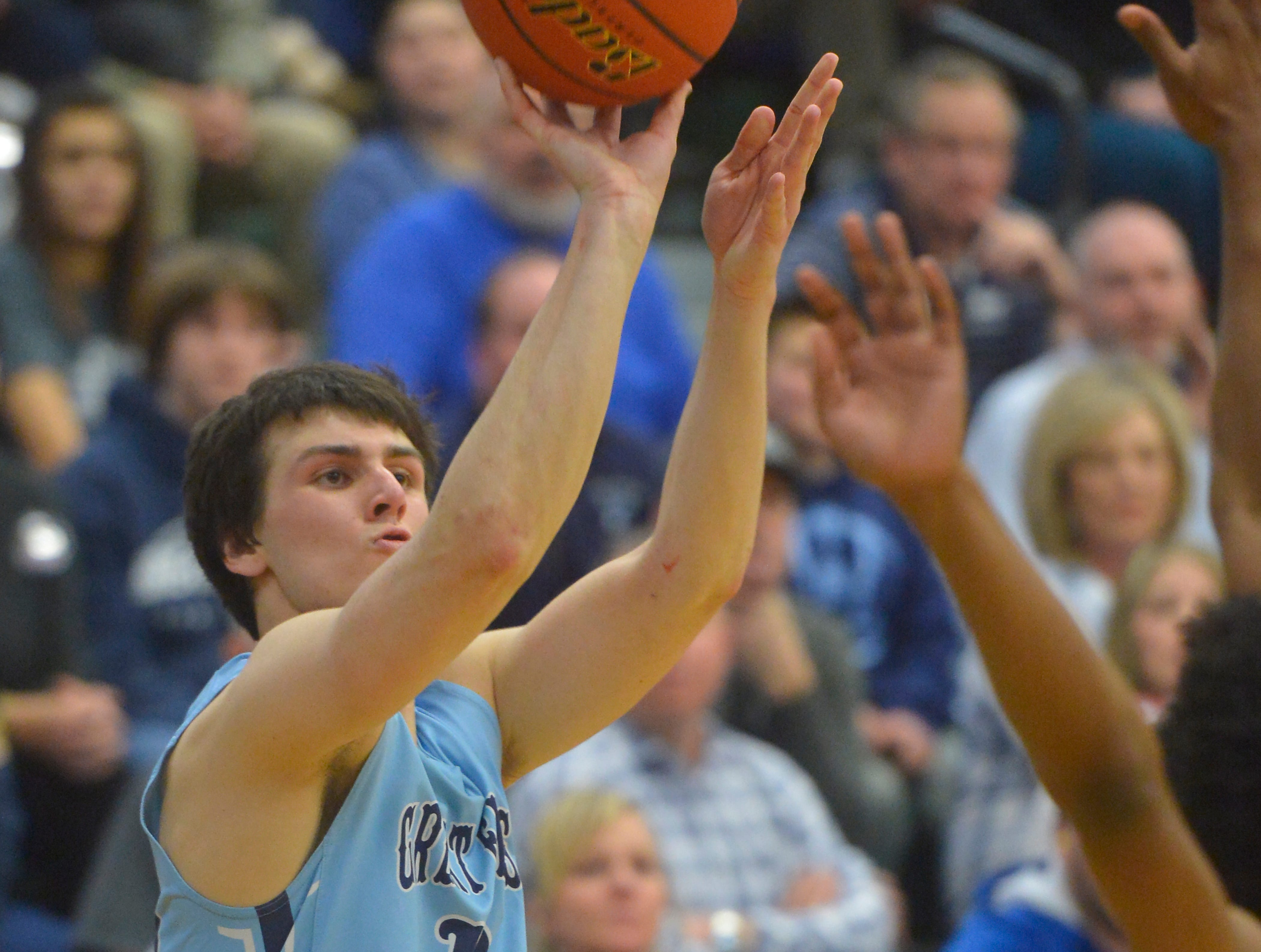 Great Falls HighsBlake Thelen shoots during the semifinal game of the Eastern AA Basketball Tournament at the CMR Fieldhouse, Friday.