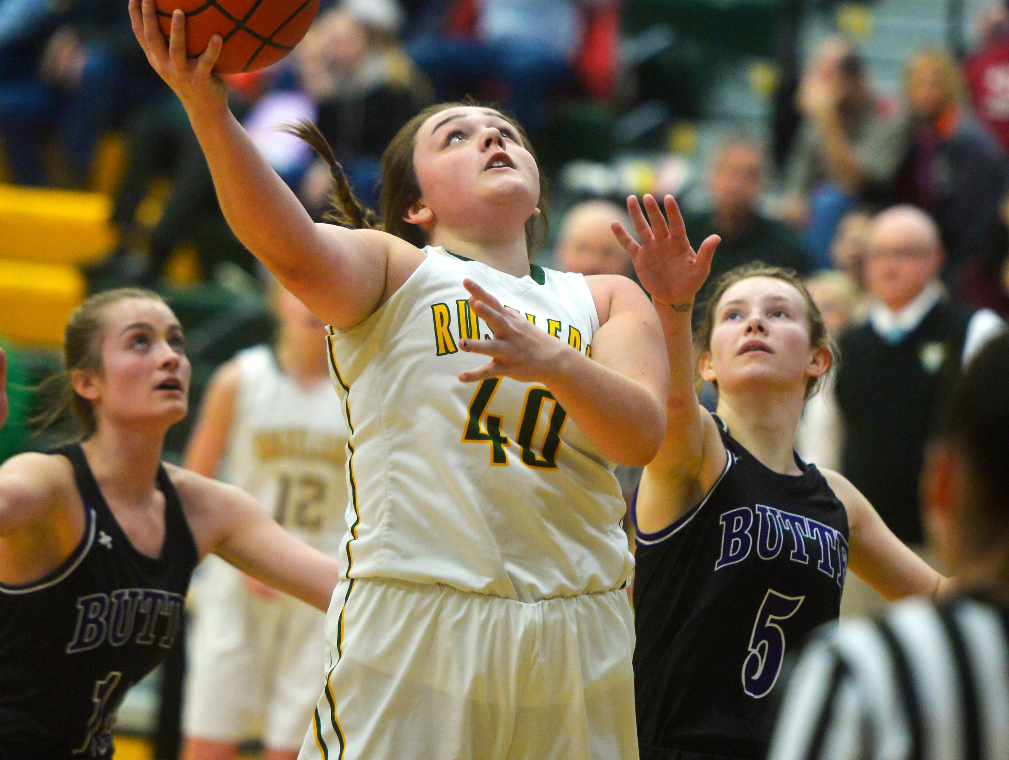 CMR's Marley Calliham shoots a layup during the girls semifinal game of the Eastern AA Basketball Tournament against Butte at the CMR Fieldhouse, Friday.