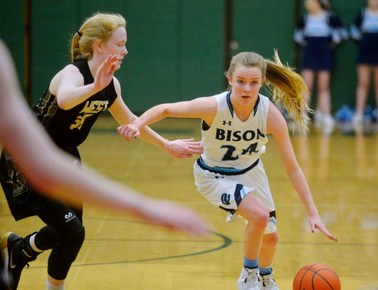 Great Falls High's Gracie Lins drives to the basket during the semifinal game of the Eastern AA Basketball Tournament against Billings West in the CMR Fieldhouse last weekend.