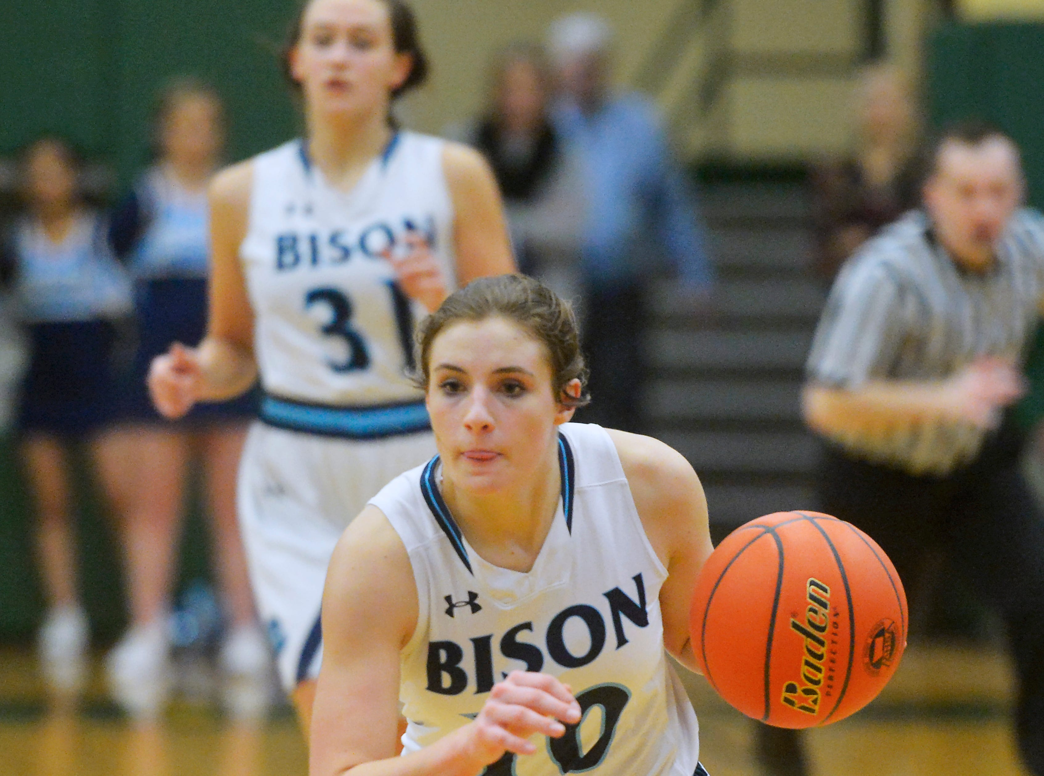 Great Falls High's Hadlee Bleskin dribbles up court during the semifinal game of the Eastern AA Basketball Tournament against Billings West at the CMR Fieldhouse, Friday.