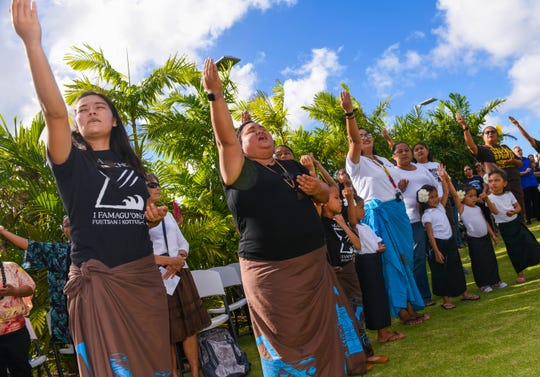 A cultural blessing is performed prior to a proclamation signing and legislative resolution presentation at the Senator Antonio M. Palomo Guam Museum & Educational Facility in Hagåtña on Friday, March 1, 2019.