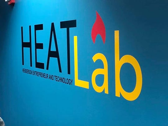 The HEATLab logo on a wall in the co-work and innovation space.