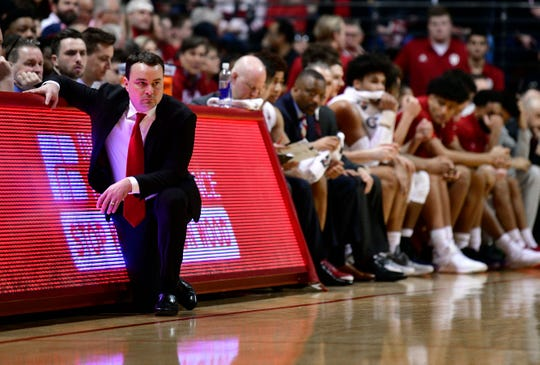 Indiana Hoosiers head coach Archie Miller watches his team during the first half of the game against the Michigan State Spartans at Assembly Hall.