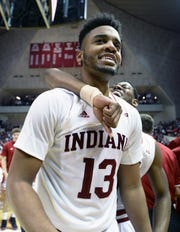 Indiana Hoosiers forward Juwan Morgan (13) celebrates after defeating Michigan State at Simon Skjodt Assembly Hall in Bloomington, Ind., on Saturday, March 2, 2019.