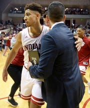 Indiana Hoosiers guard Rob Phinisee (10) celebrates with Indiana Hoosiers associate head coach Tom Ostrom after defeating Michigan State at Simon Skjodt Assembly Hall in Bloomington, Ind., on Saturday, March 2, 2019.