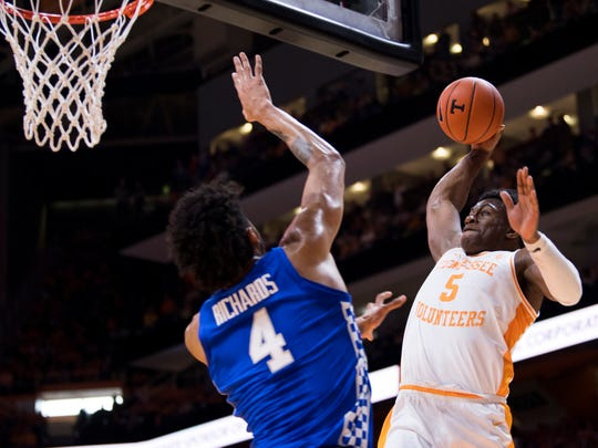 Tennessee guard Admiral Schofield (5) makes a dunk during Tennessee's home basketball game against Kentucky at Thompson-Boling Arena in Knoxville on Saturday, March 2, 2019.