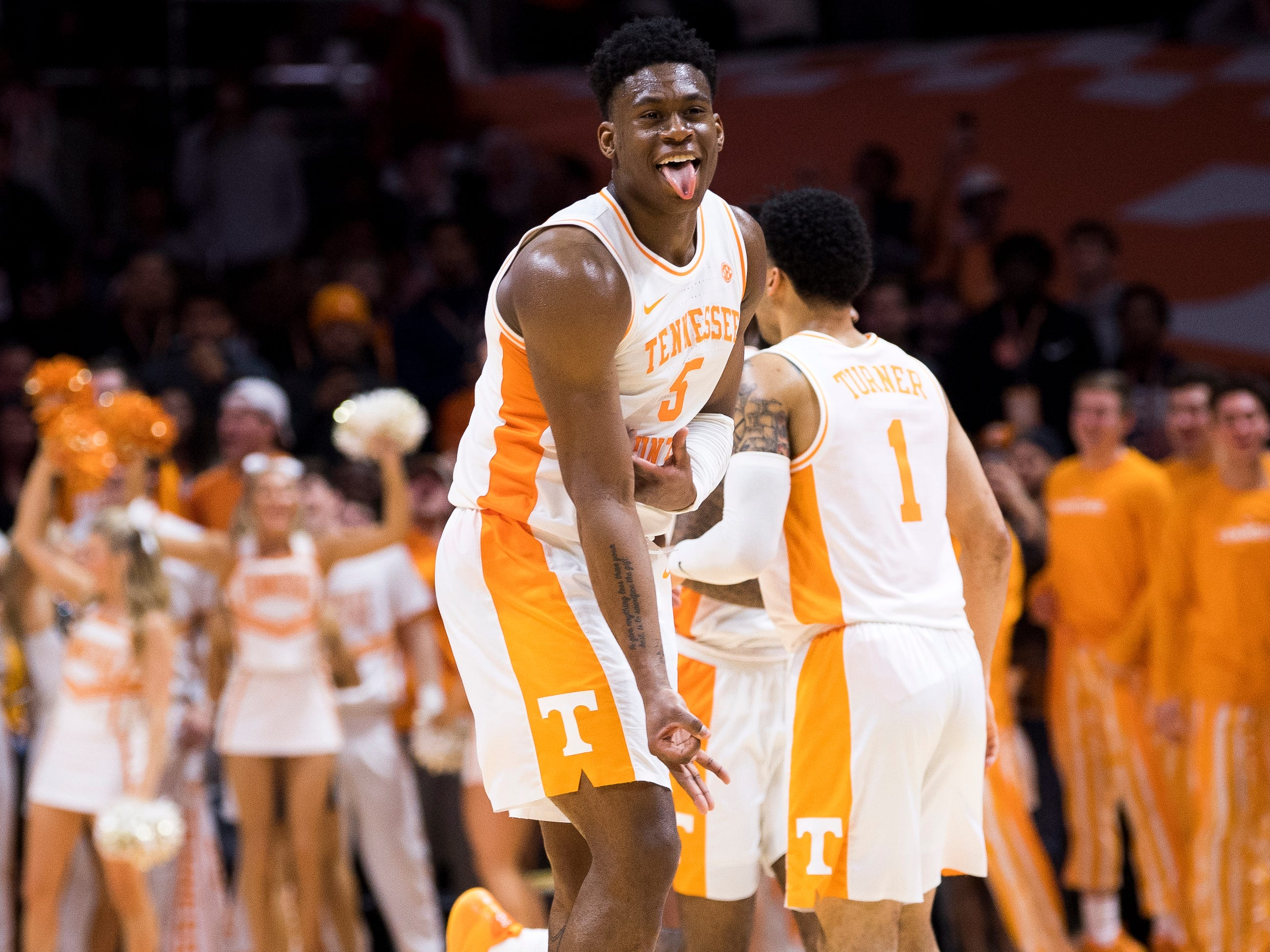 Tennessee guard Admiral Schofield (5) celebrates a three-pointer during Tennessee's home basketball game against Kentucky at Thompson-Boling Arena in Knoxville on Saturday, March 2, 2019.