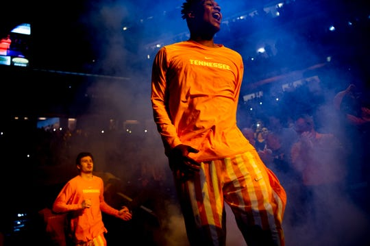 Tennessee forward D.J. Burns (32) takes the court before a game against Kentucky on March 2 at Thompson-Boling Arena.