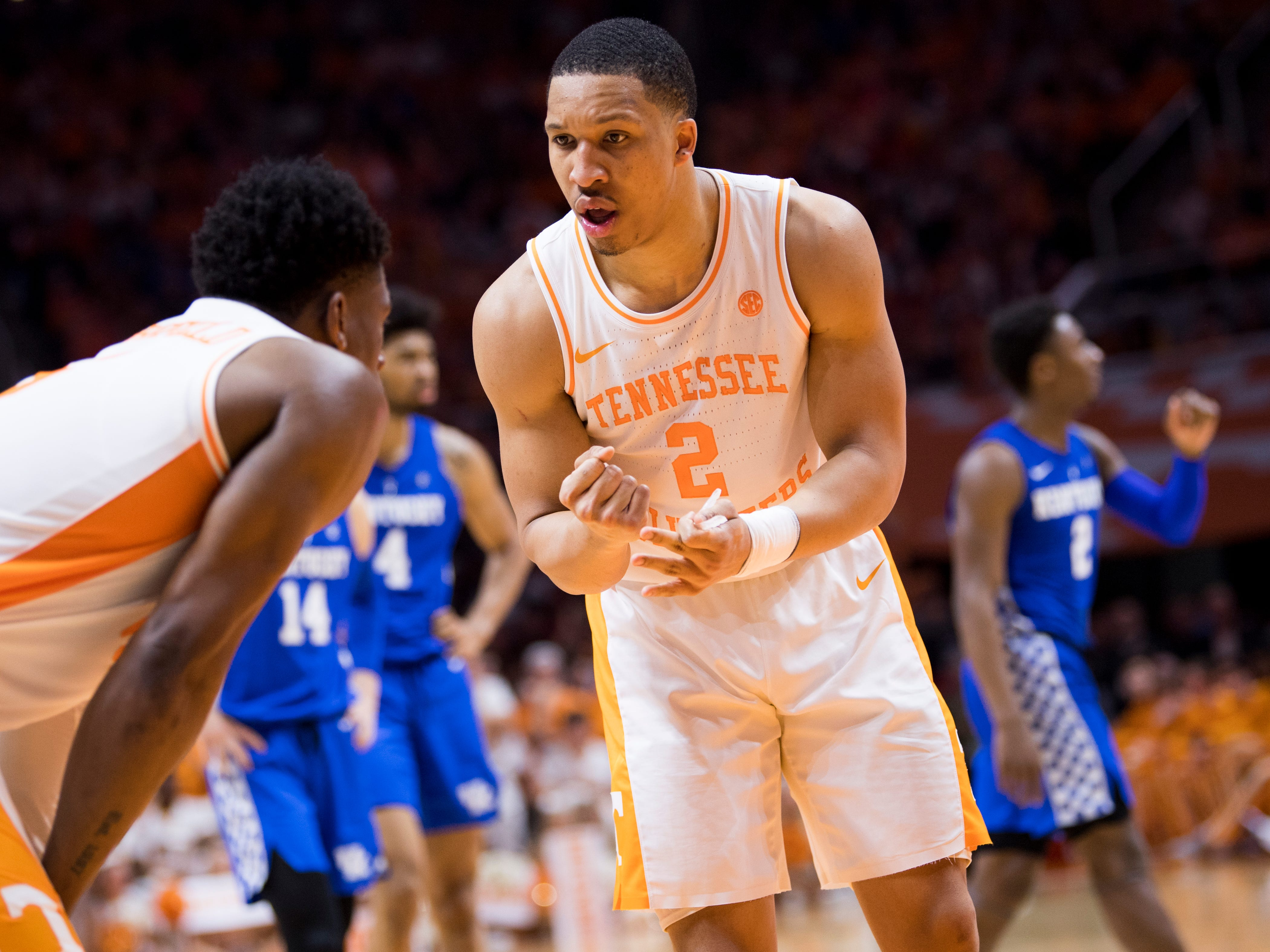 Tennessee forward Grant Williams (2) speaks with Tennessee guard Admiral Schofield (5) during Tennessee's home basketball game against Kentucky at Thompson-Boling Arena in Knoxville on Saturday, March 2, 2019.