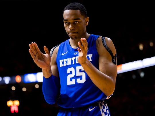 PJ Washington (25) claps for a call made during Tennessee's game against Kentucky earlier this month.