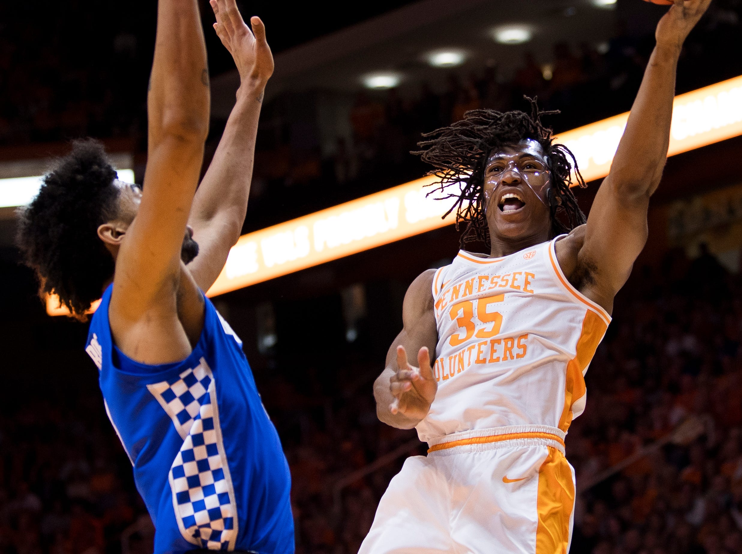 Tennessee guard/forward Yves Pons (35) attempts a shot during Tennessee's home basketball game against Kentucky at Thompson-Boling Arena in Knoxville on Saturday, March 2, 2019.