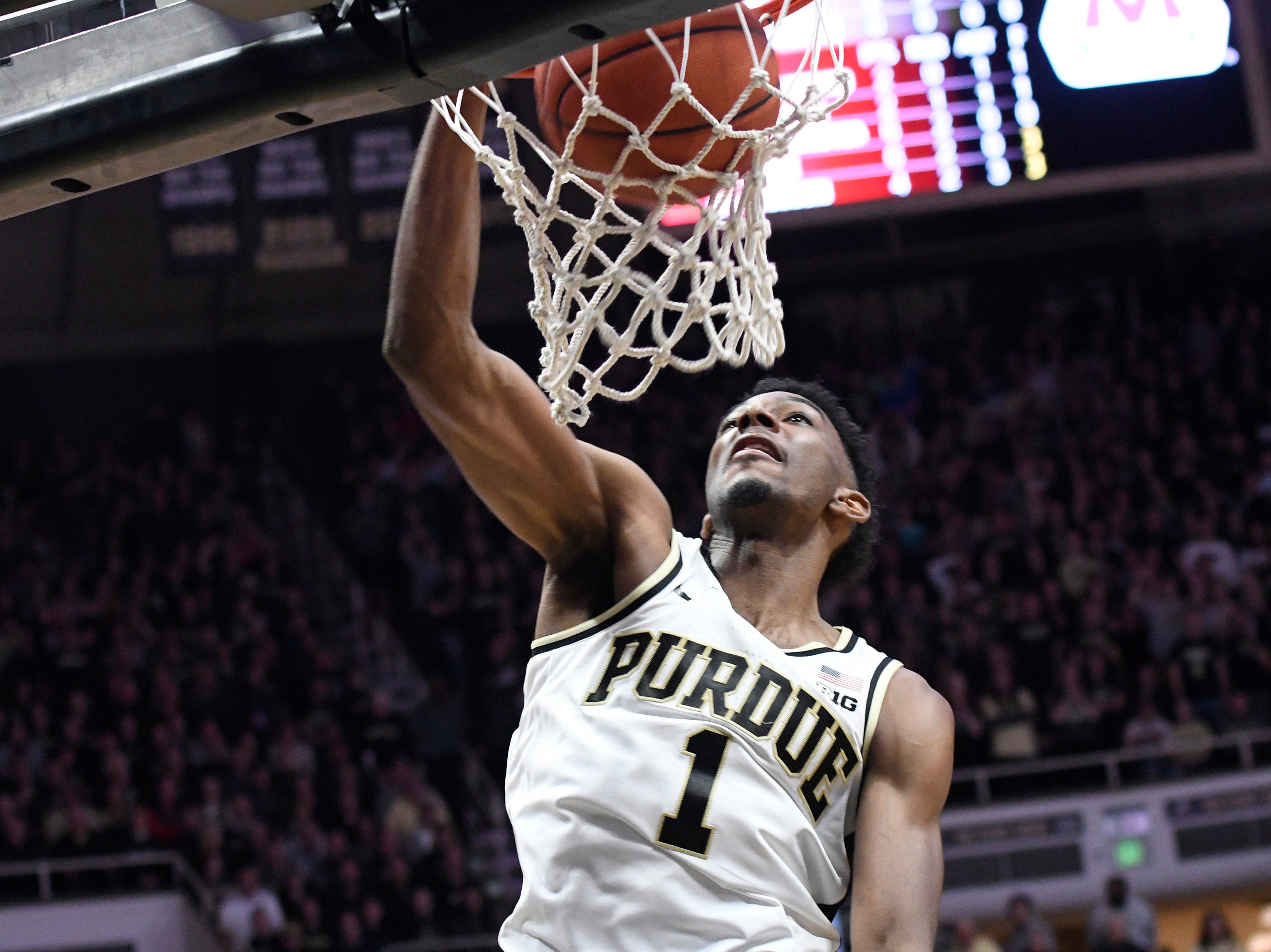 Mar 2, 2019; West Lafayette, IN, USA; Purdue Boilermakers forward Aaron Wheeler (1) dunks the ball during the 2nd half at Mackey Arena. Mandatory Credit: Sandra Dukes-USA TODAY Sports