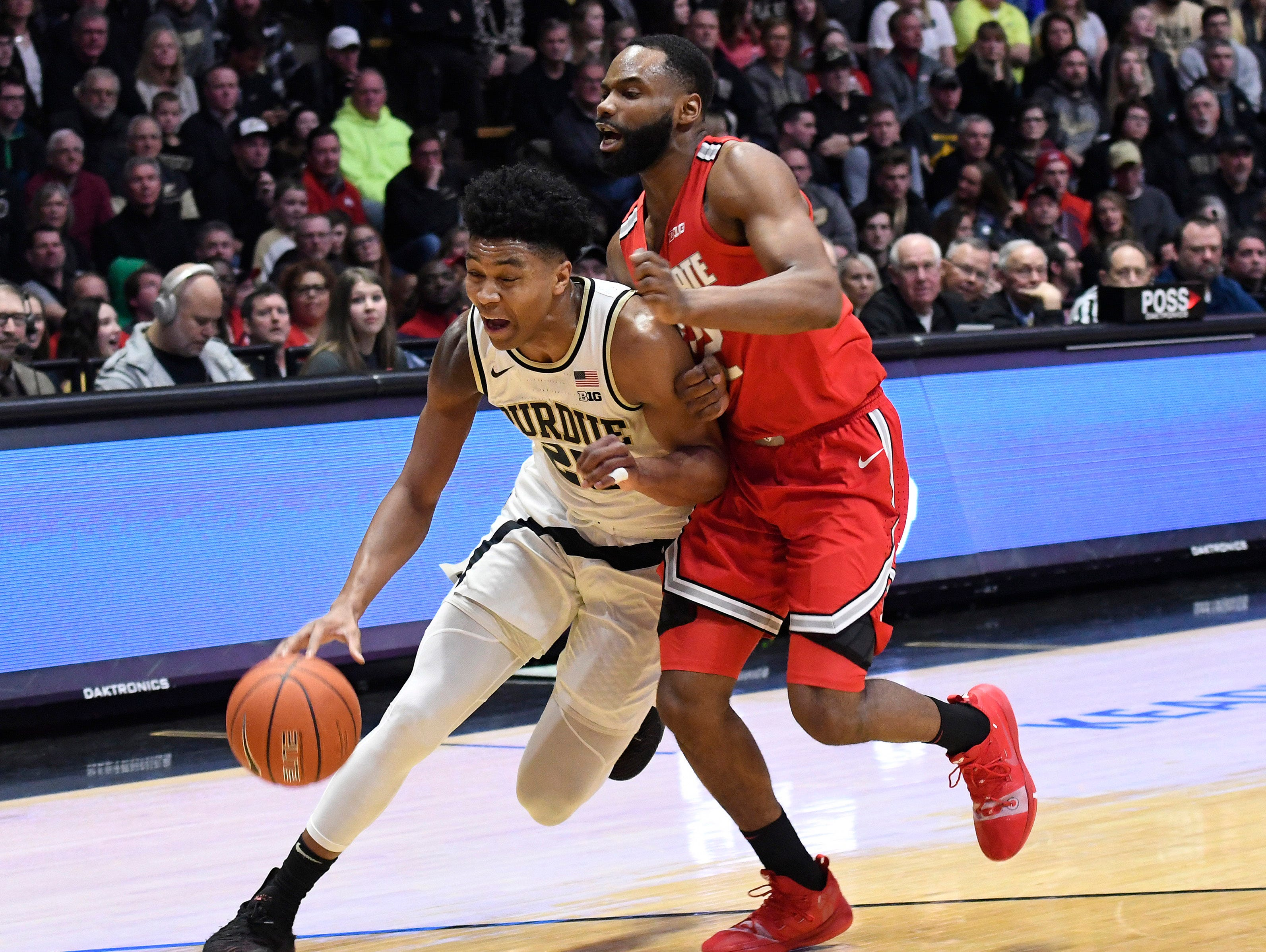 Mar 2, 2019; West Lafayette, IN, USA; Purdue Boilermakers guard Nojel Eastern (20) rives past Ohio State Buckeye defender in the 2nd half at Mackey Arena. Mandatory Credit: Sandra Dukes-USA TODAY Sports