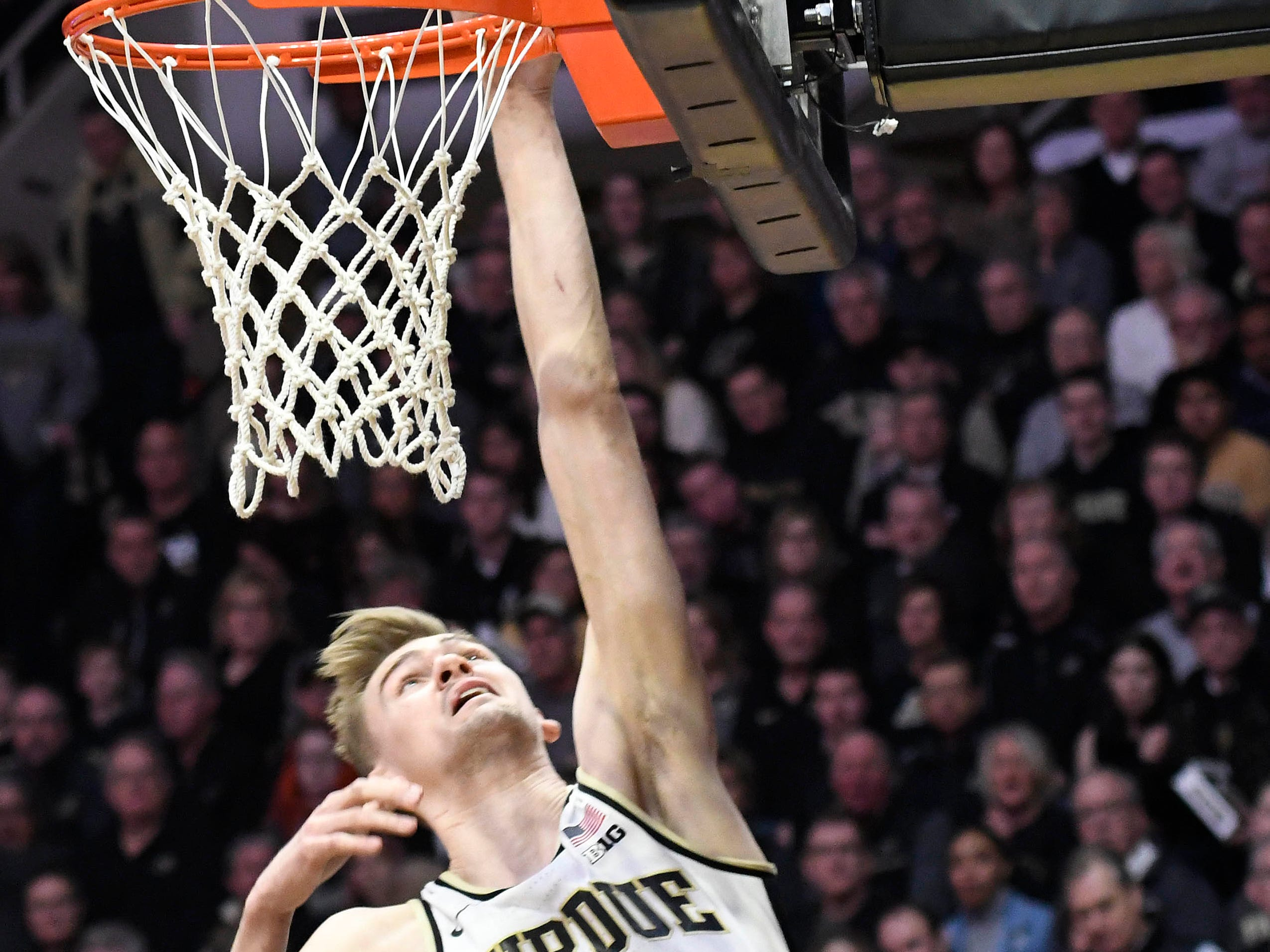 Mar 2, 2019; West Lafayette, IN, USA; Purdue Boilermakers center Matt Haarms (32) goes for a layup in the first half at Mackey Arena. Mandatory Credit: Sandra Dukes-USA TODAY Sports