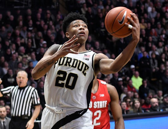 Mar 2, 2019; West Lafayette, IN, USA; Purdue Boilermakers guard Nojel Eastern (20) reaches or a layup in the 2nd half at Mackey Arena. Mandatory Credit: Sandra Dukes-USA TODAY Sports