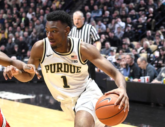 Mar 2, 2019; West Lafayette, IN, USA; Purdue Boilermakers forward Aaron Wheeler (1) drive the base line in the 2nd half at Mackey Arena. Mandatory Credit: Sandra Dukes-USA TODAY Sports