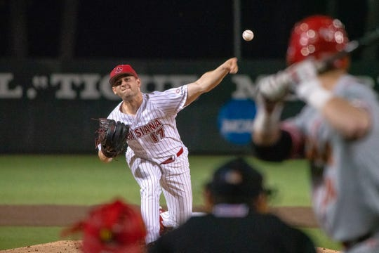 UL senior Gunner Leger throws against Maryland earlier this season. He's throwing out of the bullpen for now.