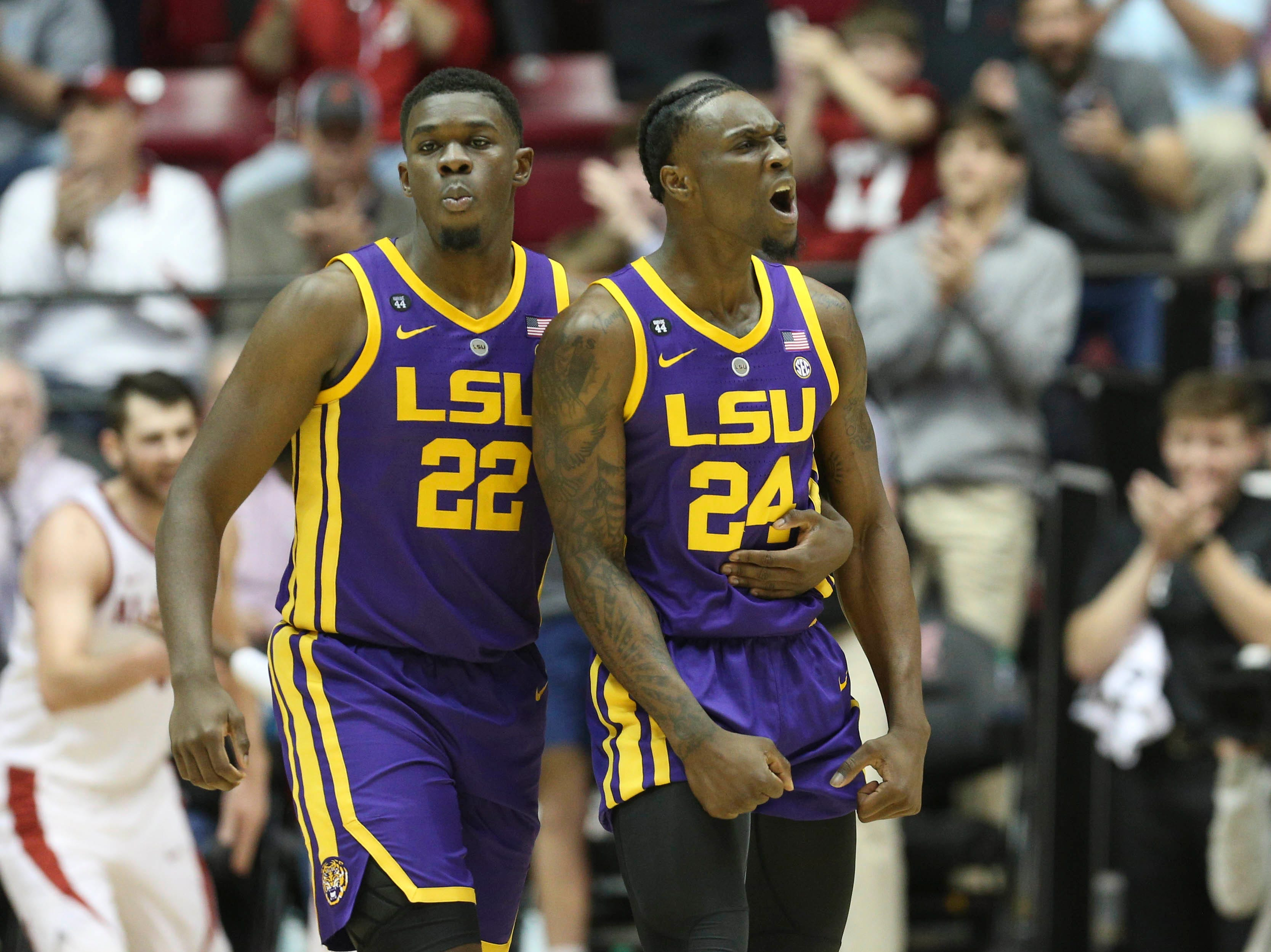Mar 2, 2019; Tuscaloosa, AL, USA; LSU Tigers forward Darius Days (22) holds back LSU Tigers forward Emmitt Williams (24) after Williams was called for a foulduring the second half against Alabama Crimson Tide at Coleman Coliseum. Mandatory Credit: Marvin Gentry-USA TODAY Sports