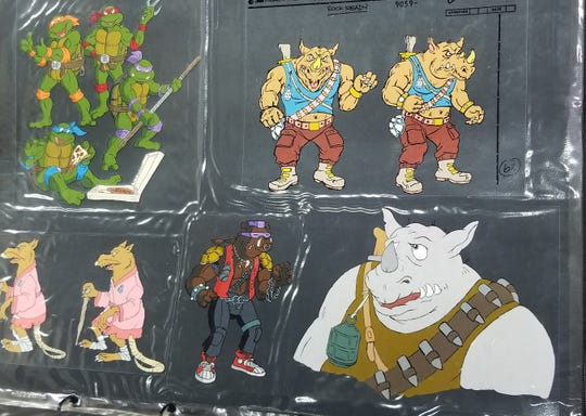 A sample of the cels that Deirdre Gogarty painted when she worked on the animated series Teenage Mutant Ninja Turtles