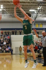 Kip French scored 15 points for Howell in a 55-49 victory over Linden in the district basketball championship game at Hartland on Friday, March 1, 2019.
