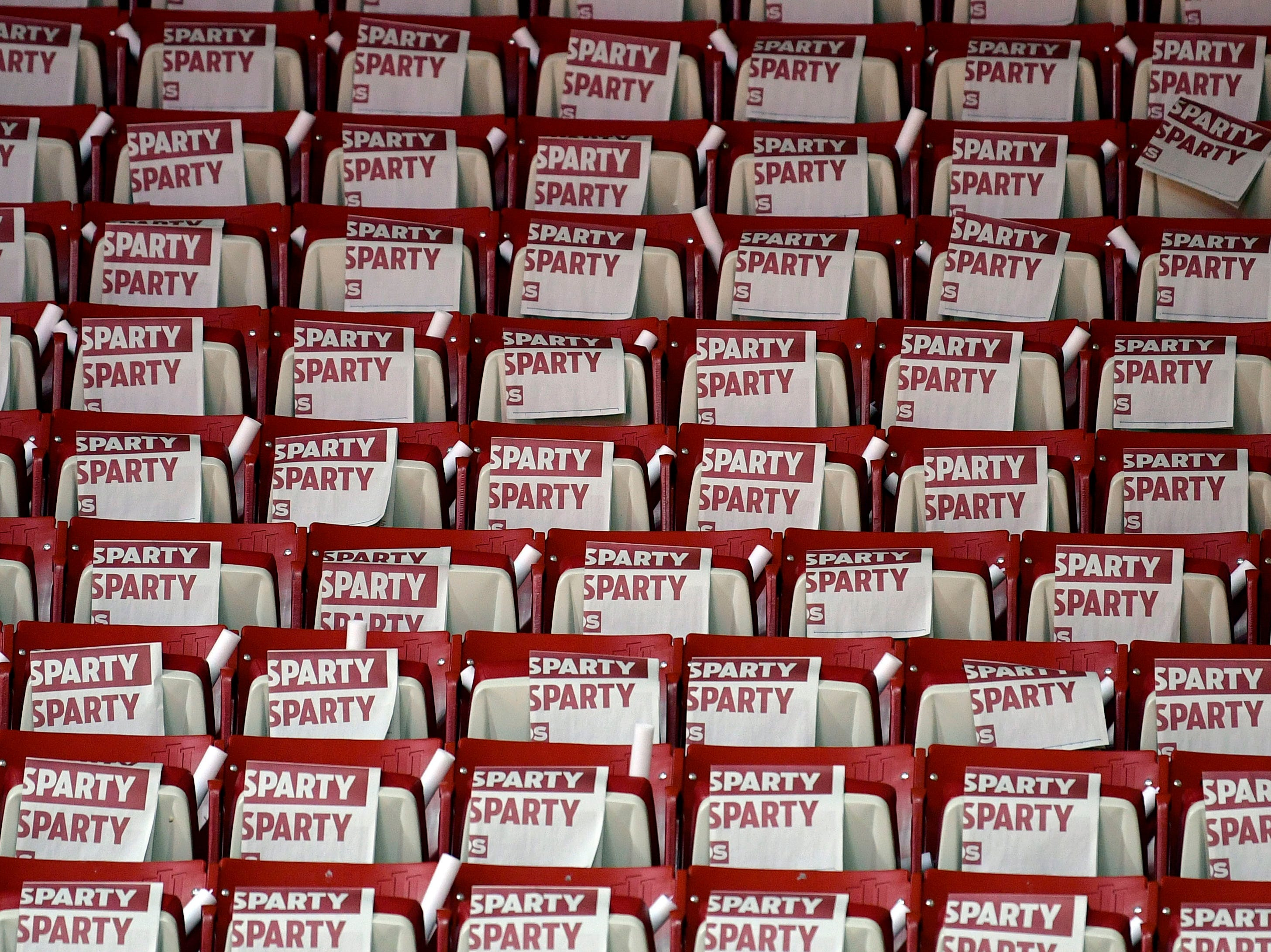 Mar 2, 2019; Bloomington, IN, USA; The seats are lined with Sparty Party newspapers before the game between the Indiana Hoosiers and the Michigan State Spartans at Assembly Hall. Mandatory Credit: Marc Lebryk-USA TODAY Sports