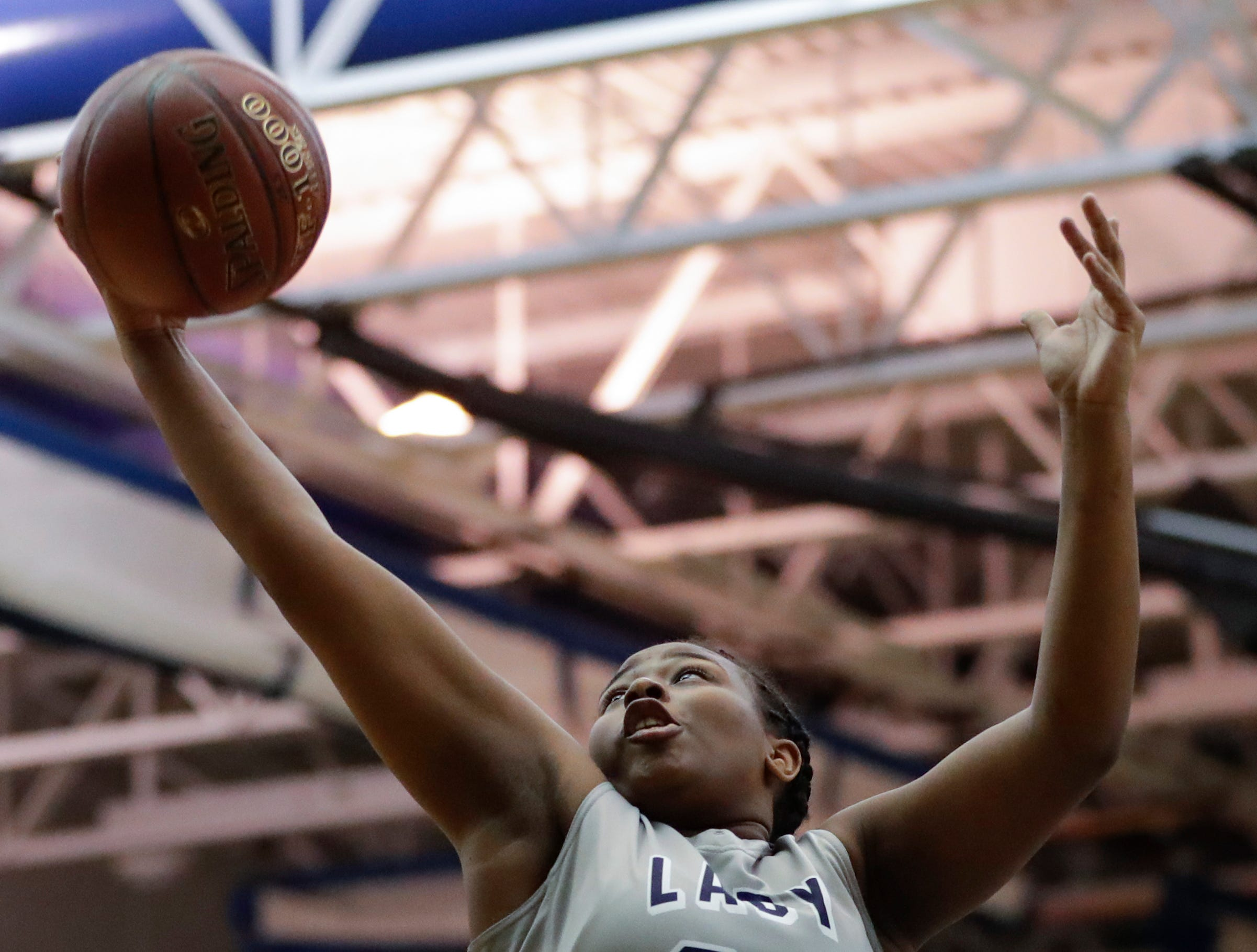 Milwaukee Academy of Science's Nakiyah Hurst rebounds against Howards Grove during a WIAA Division 4 sectional championship game at Sheboygan North High School Saturday, March 2, 2019, in Sheboygan, Wis. Joshua Clark/USA TODAY NETWORK-Wisconsin