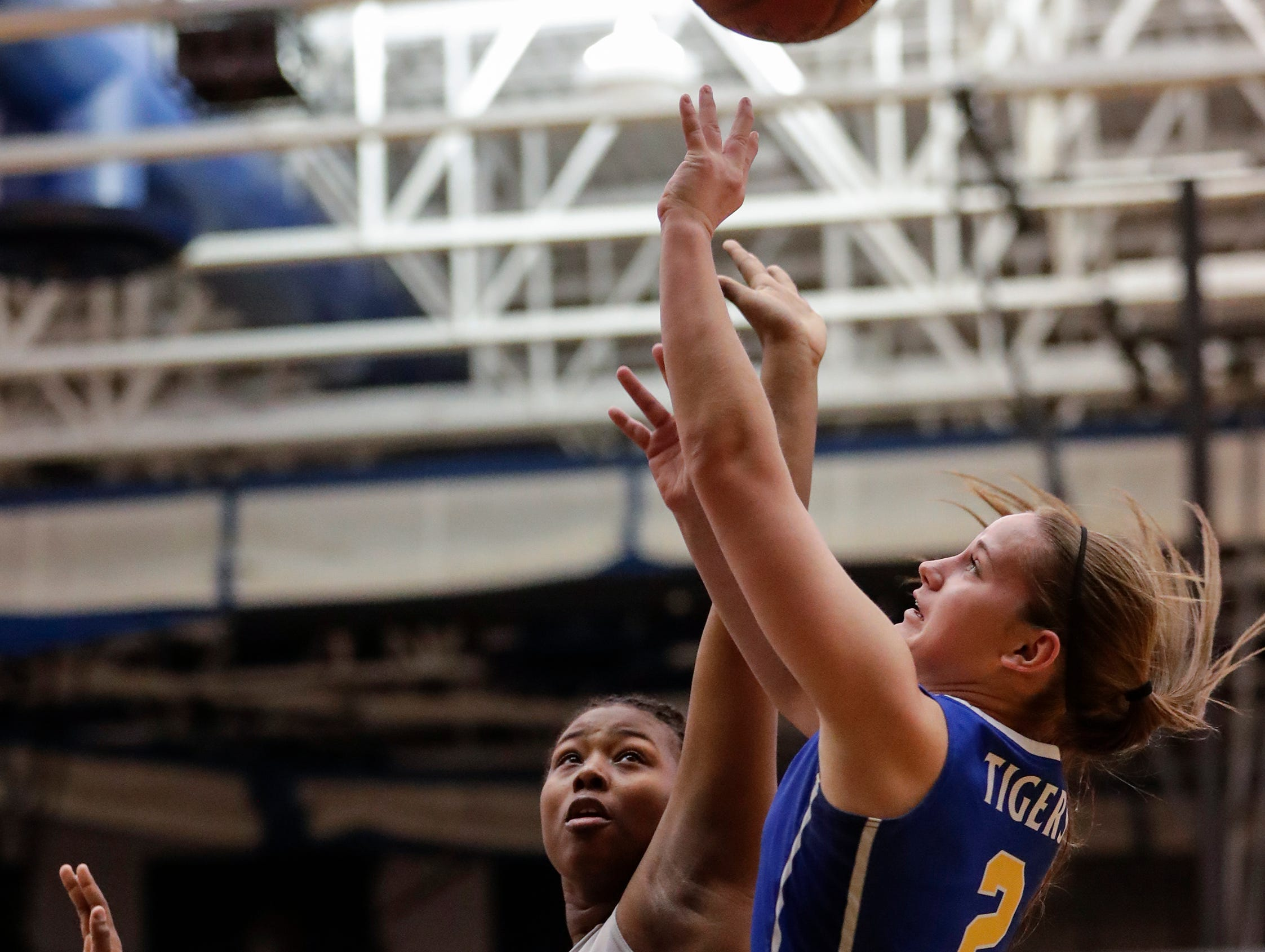 Howards Grove's Zayla Mueller (2) puts up a shot against Milwaukee Academy of Science during a WIAA Division 4 sectional championship game at Sheboygan North High School Saturday, March 2, 2019, in Sheboygan, Wis. Joshua Clark/USA TODAY NETWORK-Wisconsin