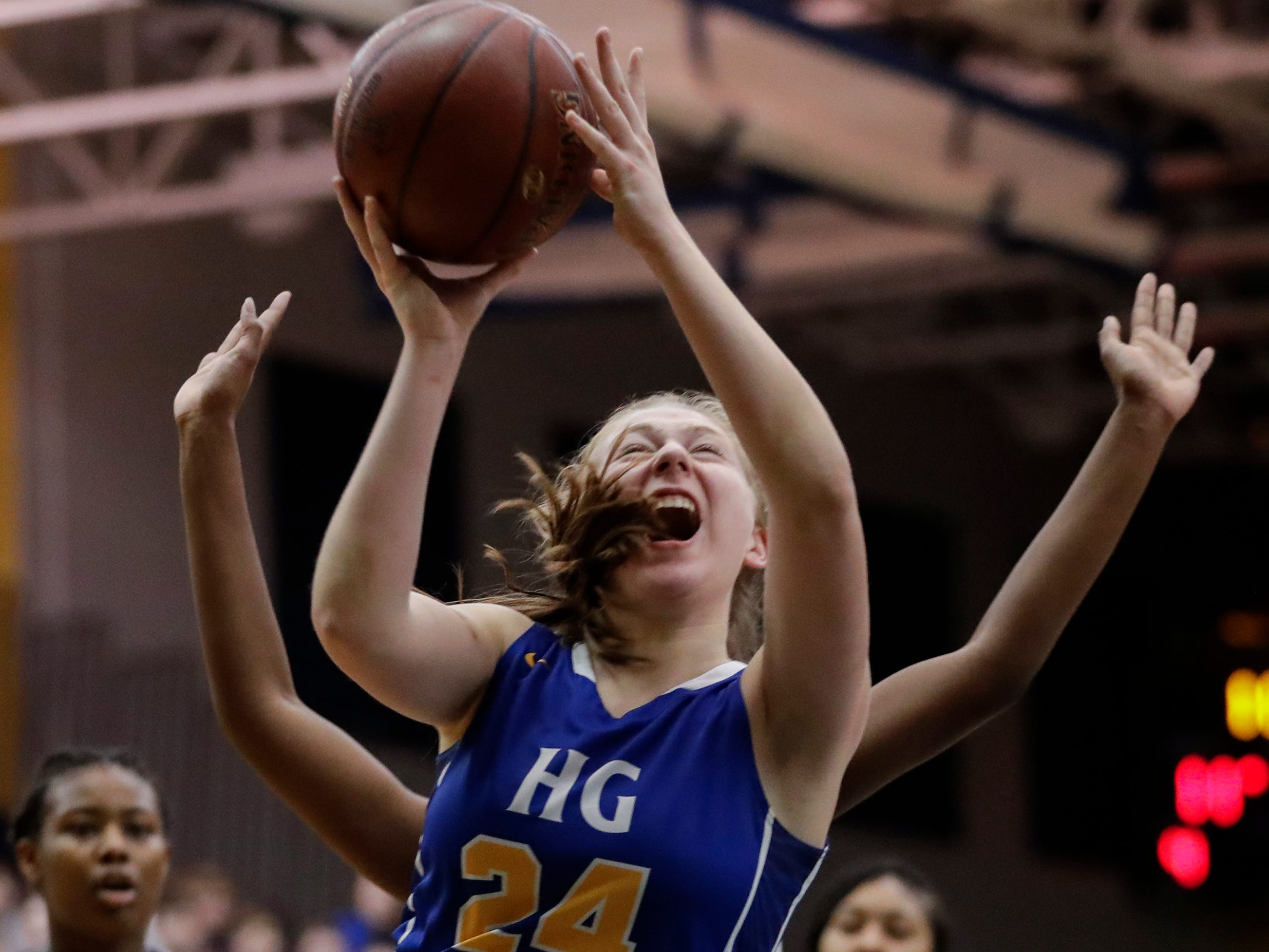 Howards Grove's Kayla Bender (24) shoots against Milwaukee Academy of Science during a WIAA Division 4 sectional championship game at Sheboygan North High School Saturday, March 2, 2019, in Sheboygan, Wis. Joshua Clark/USA TODAY NETWORK-Wisconsin