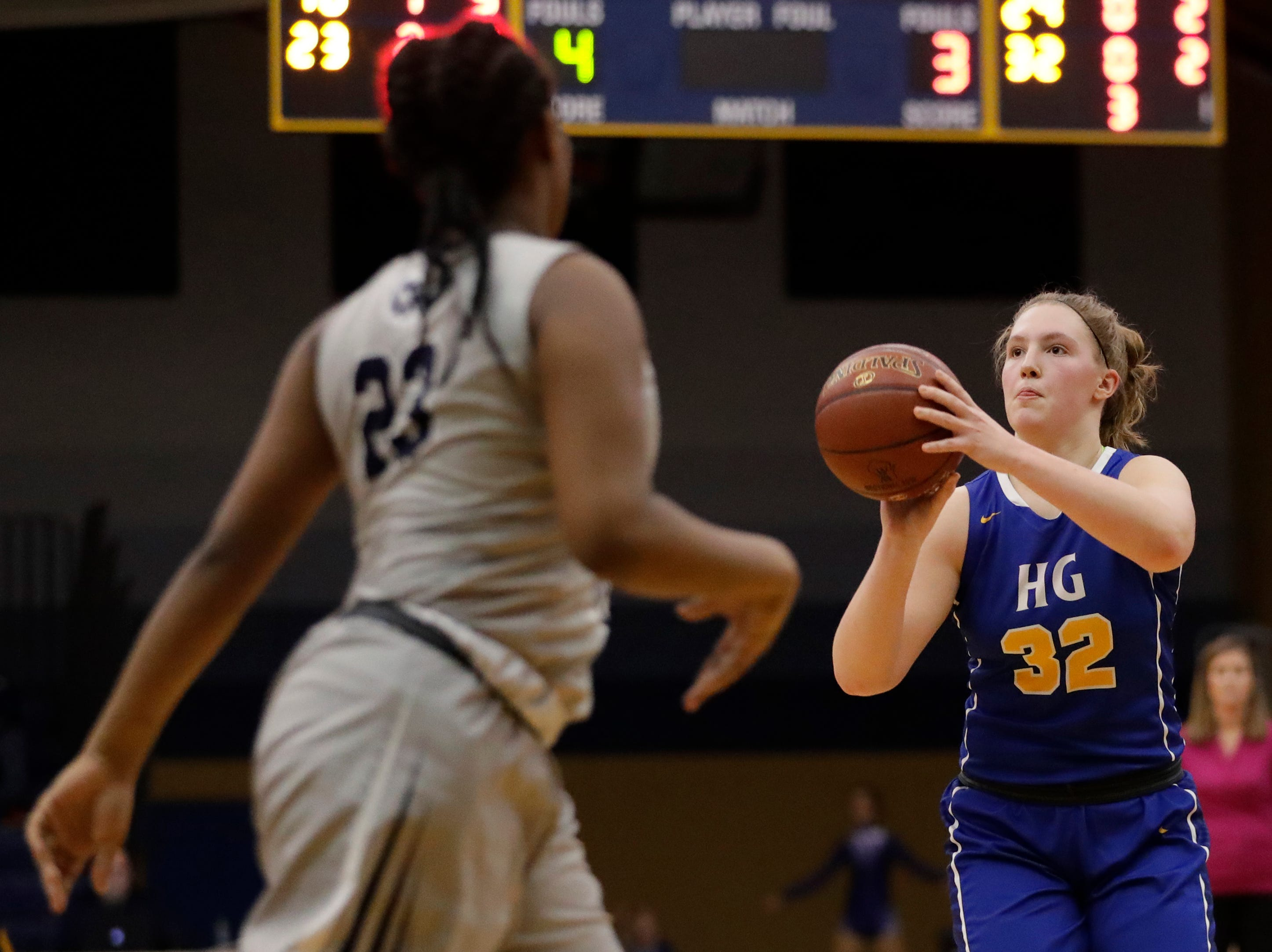Howards Grove's Madalynn Near shoots against Milwaukee Academy of Science during a WIAA Division 4 sectional championship game at Sheboygan North High School Saturday, March 2, 2019, in Sheboygan, Wis. Joshua Clark/USA TODAY NETWORK-Wisconsin