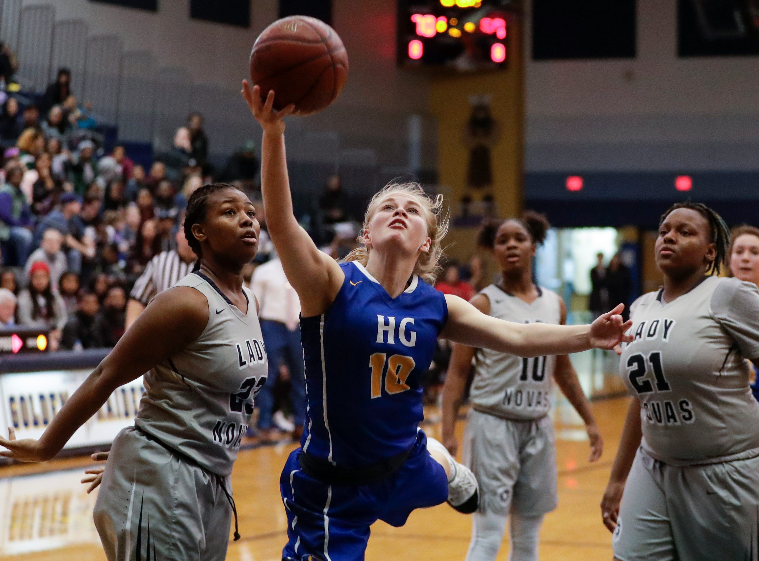 Howards Grove's Leah Parnitzke (10) shoots a layup against Milwaukee Academy of Science during a WIAA Division 4 sectional championship game at Sheboygan North High School Saturday, March 2, 2019, in Sheboygan, Wis. Joshua Clark/USA TODAY NETWORK-Wisconsin