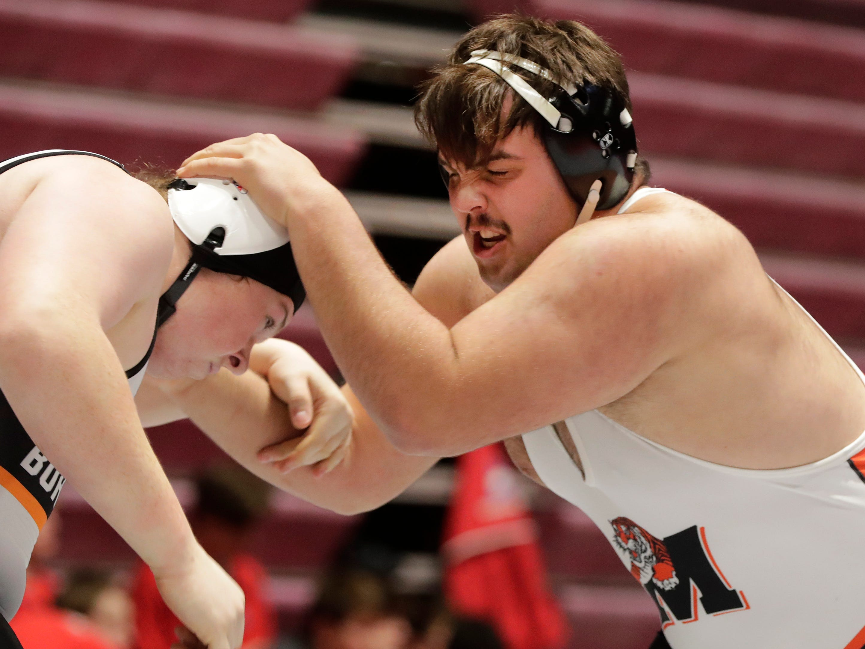 Marshfield's Samual Haessly, right, wrestles Burlington's Wyatt Hayes in a 285-pound match, Friday, March 1, 2019, in Madison, Wis.