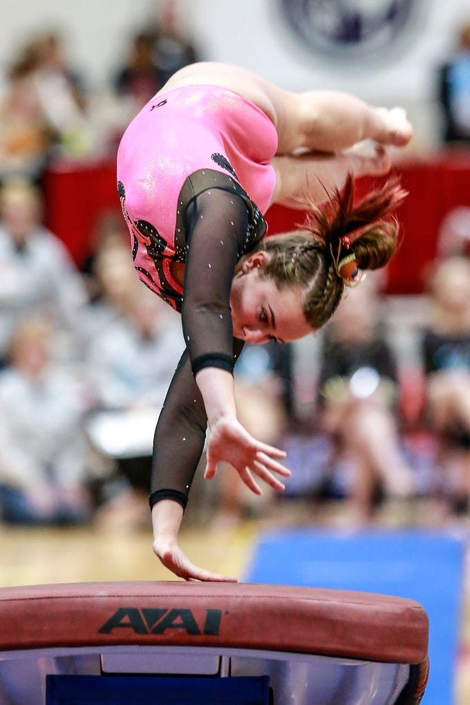 Marshfield's Brooke McGarth competes in the vaulting during WIAA state gymnastics competition Friday, March 1, 2019, at Lincoln High School Field House in Wisconsin Rapids, Wis. T'xer Zhon Kha/USA TODAY NETWORK-Wisconsin